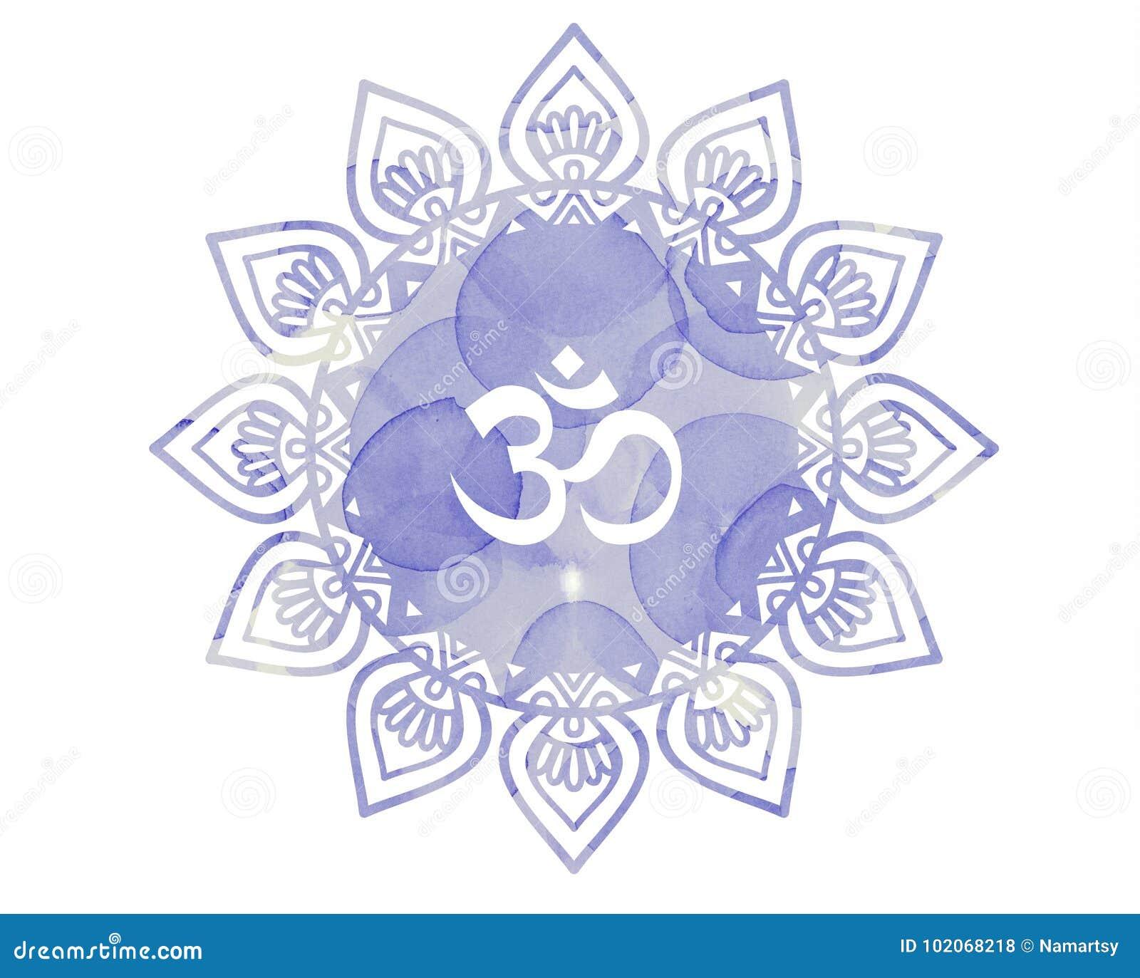 Símbolo púrpura de OM Aum de la mandala de la acuarela