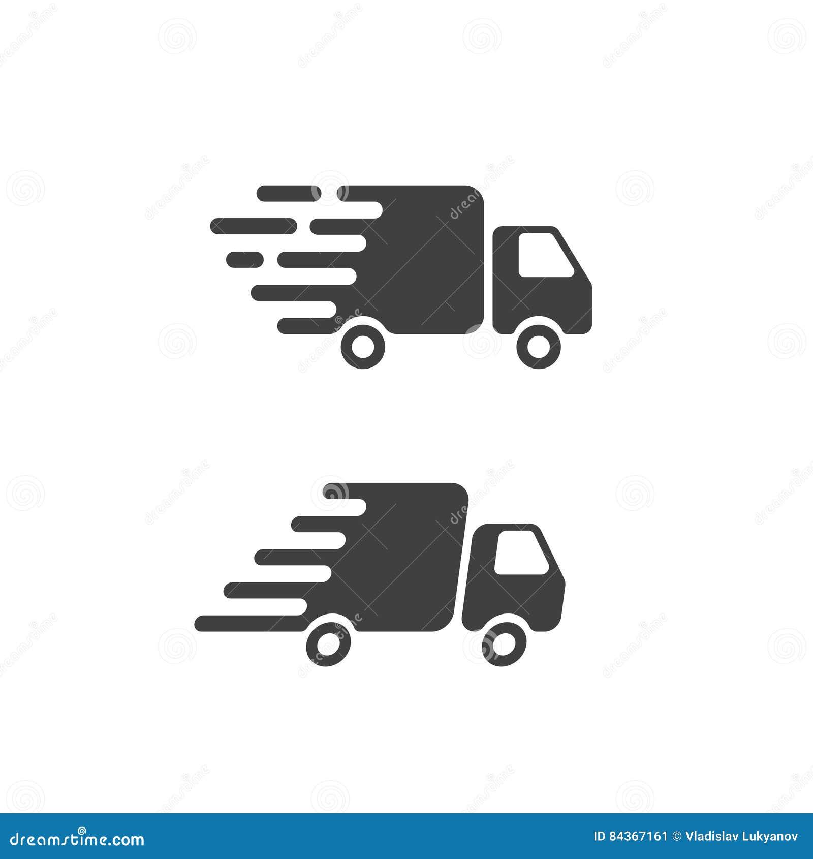 Símbolo plano del icono del camión de reparto, buque mercante rápido van pictogram