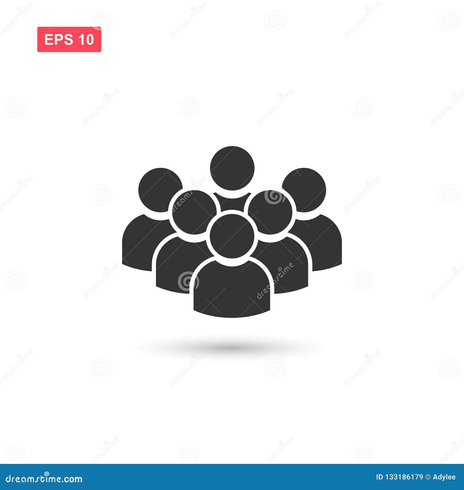 Símbolo plano 3 del vector del icono de grupo de personas