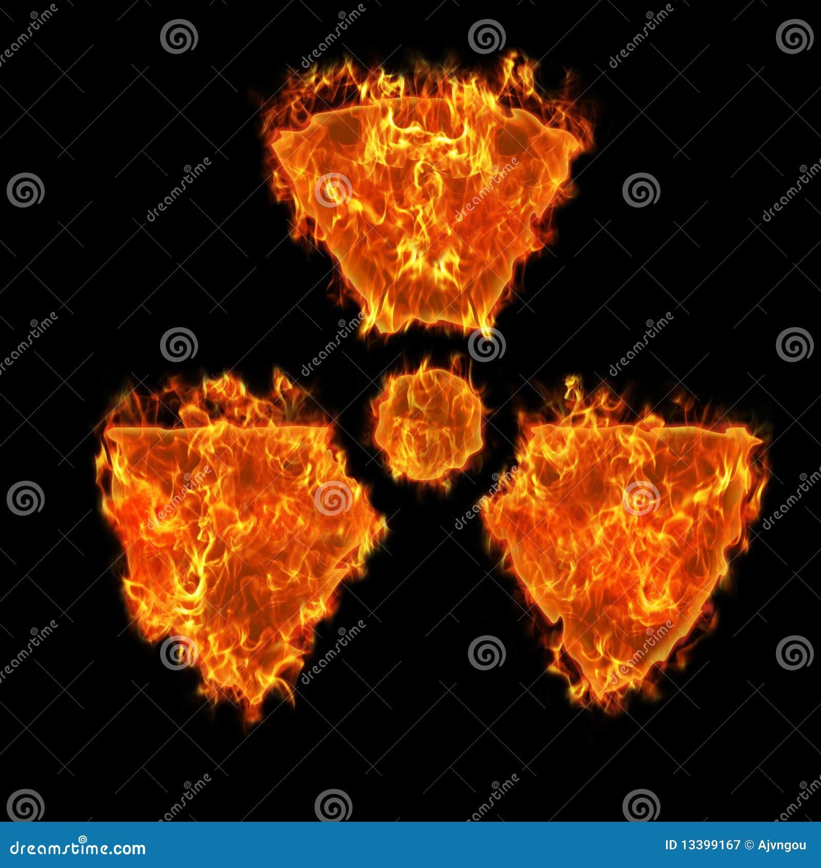 Símbolo radioativo ardente