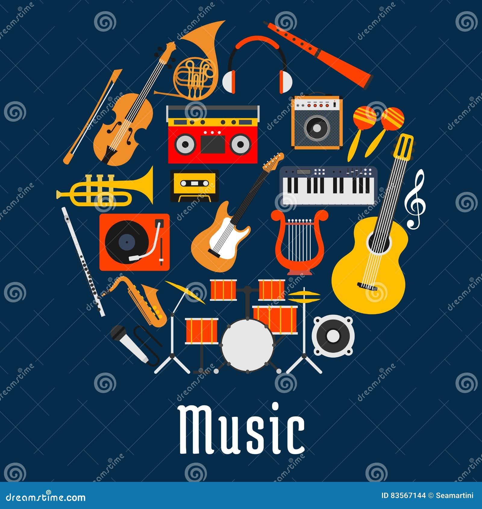 Símbolo Redondo Da Música Com Instrumentos Musicais Ilustração Do