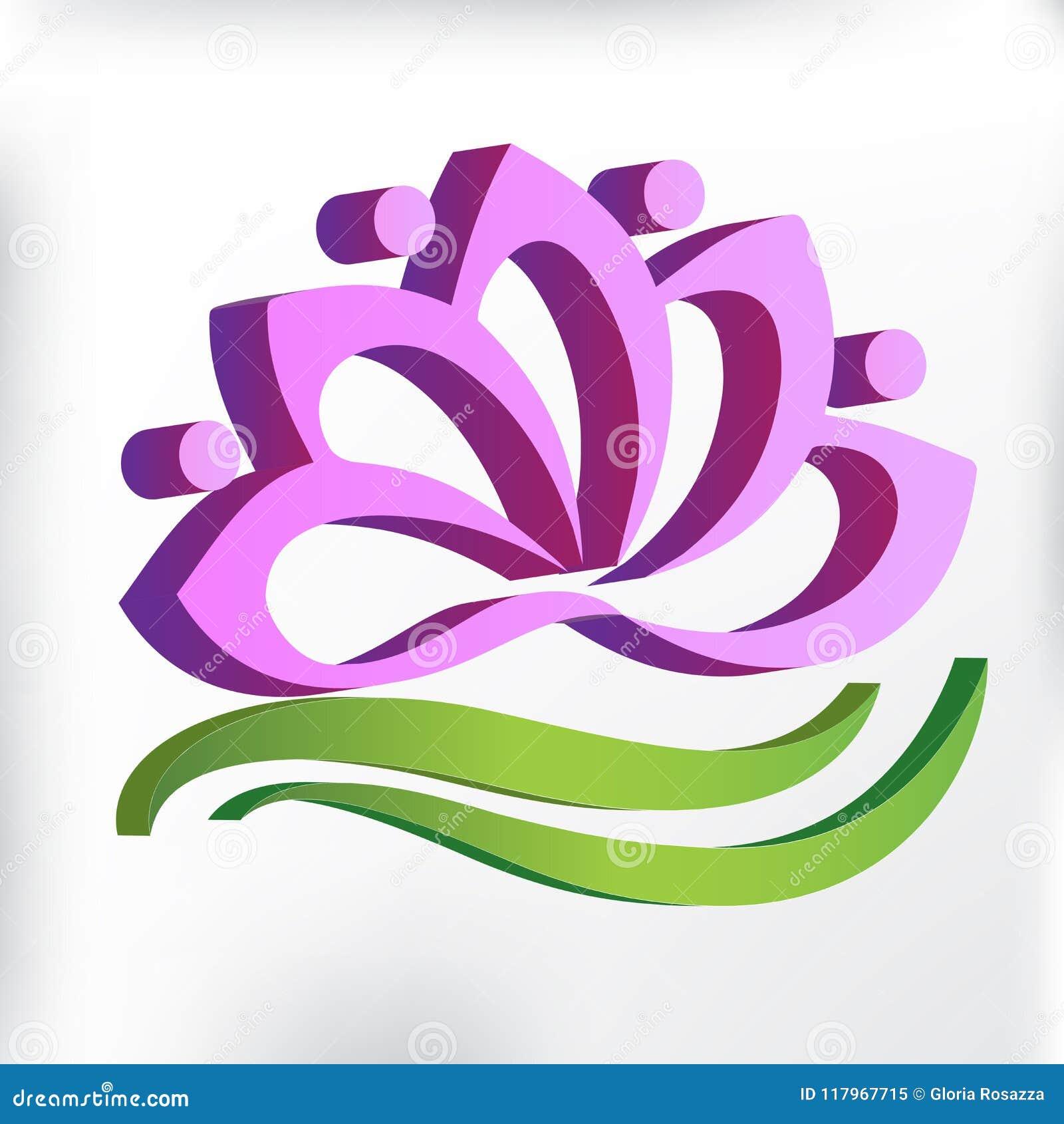 Símbolo Rosado Del Trabajo En Equipo De La Flor Del Loto 3d Del