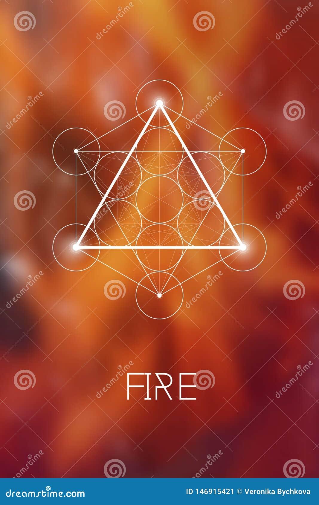 Símbolo sagrado del elemento del fuego de la geometría dentro del cubo de Metatron y de la flor de la vida delante del fondo borr