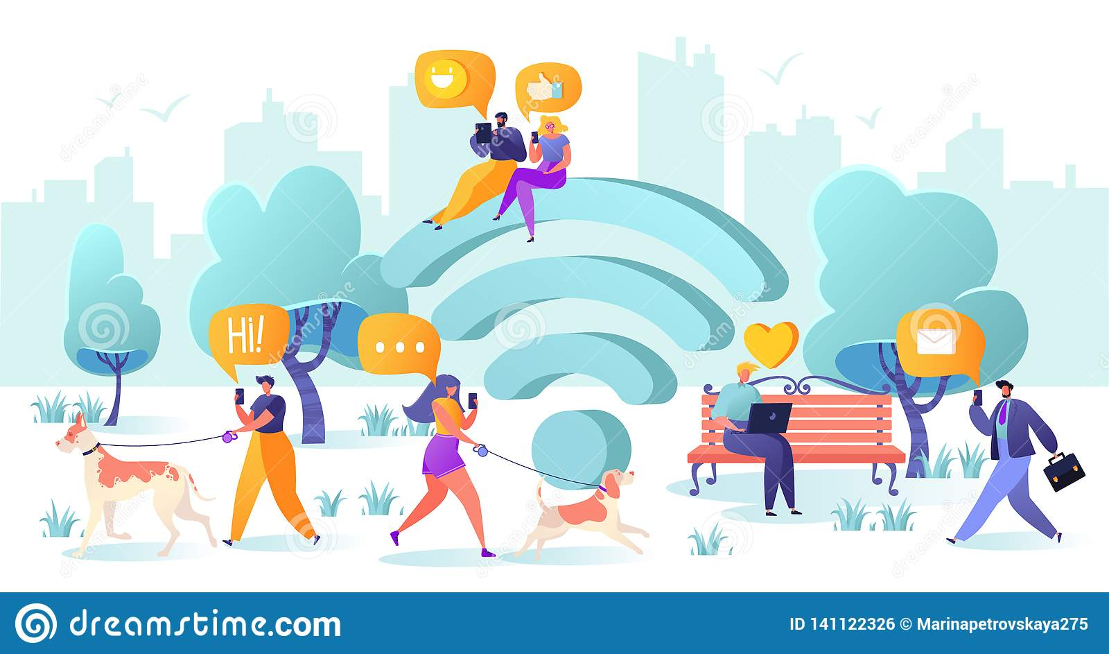 Símbolo, smartphone, dispositivo, projeto liso, portátil, caráter, conexão, conversa, uma comunicação, homem de negócios, convers