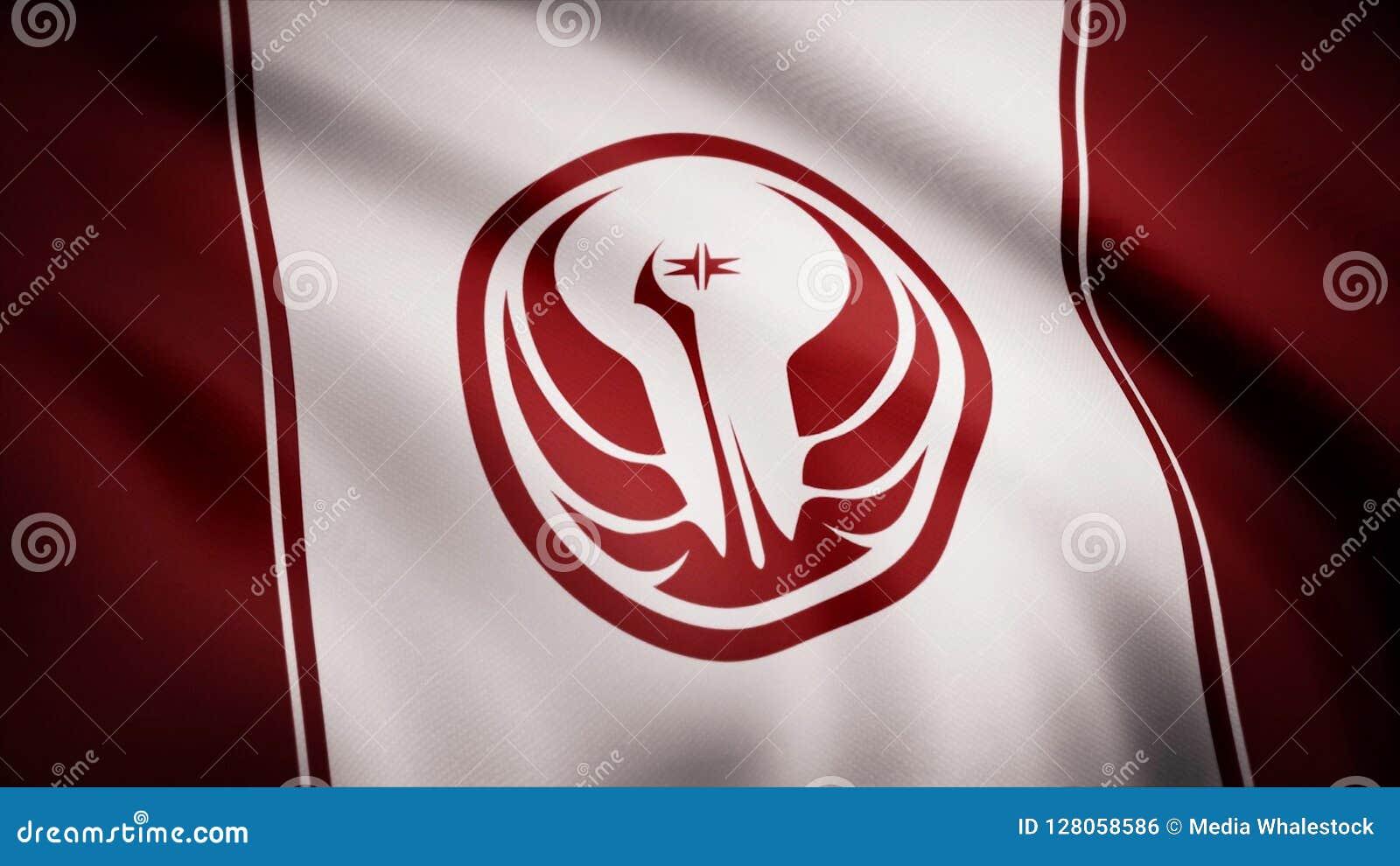 Símbolo velho da república de Star Wars na bandeira O tema dos Star Wars Uso do editorial somente