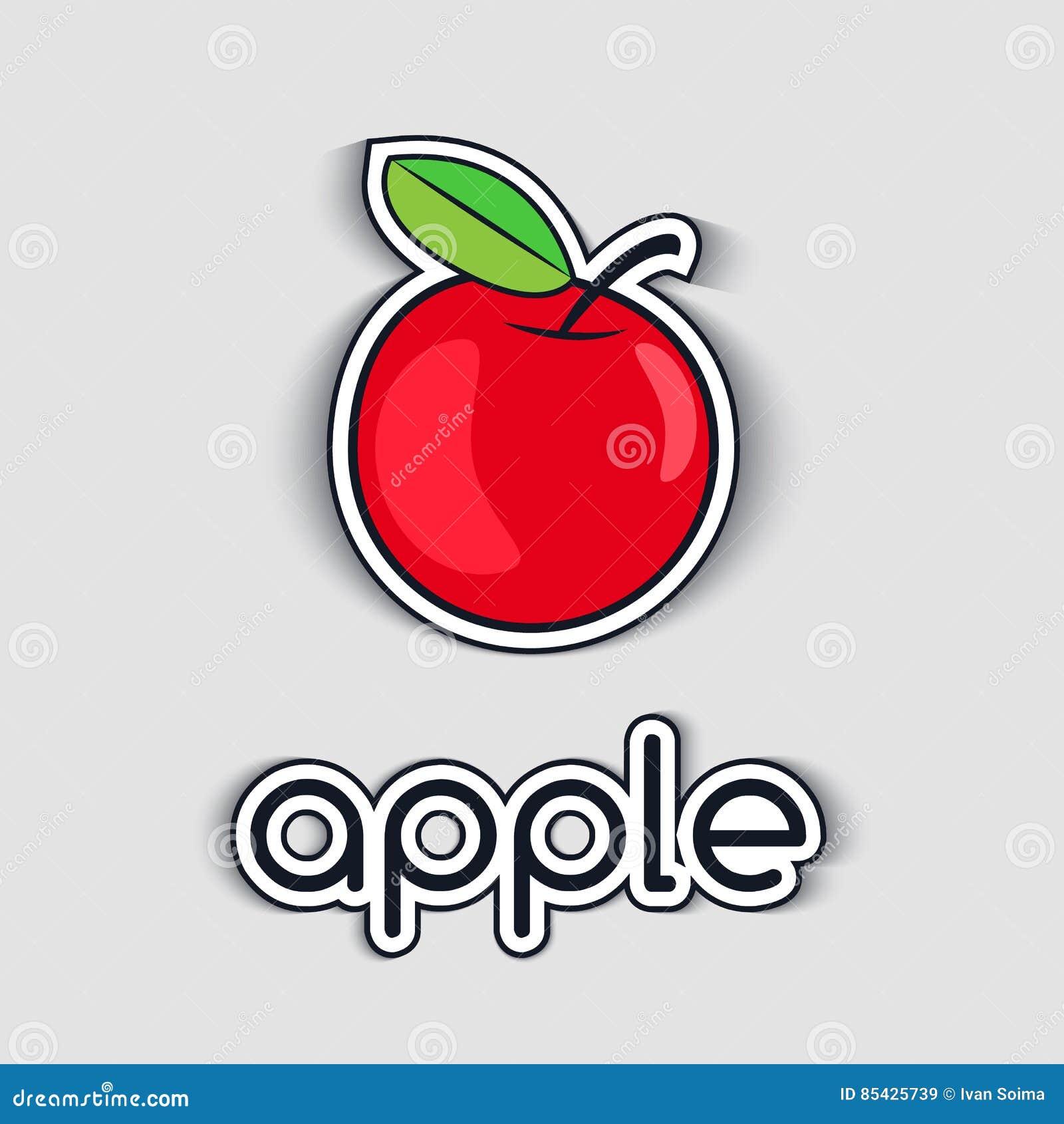 Símbolo vermelho do ícone de Apple no fundo branco