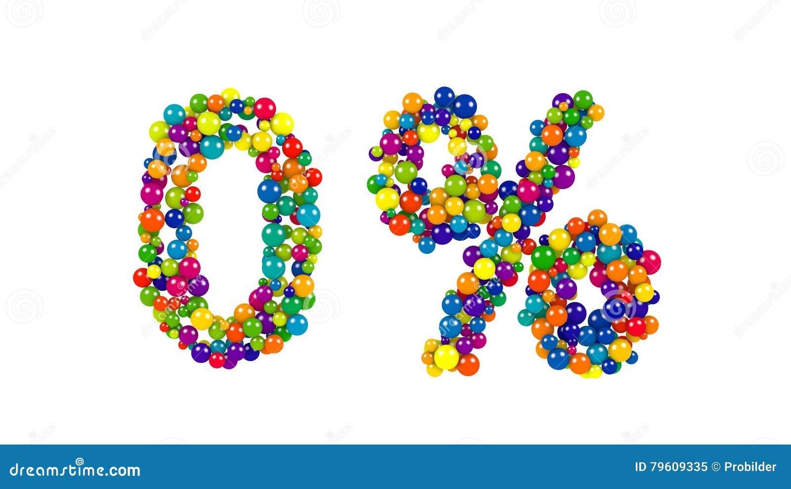 Símbolo zero dos por cento em bolas coloridas no branco