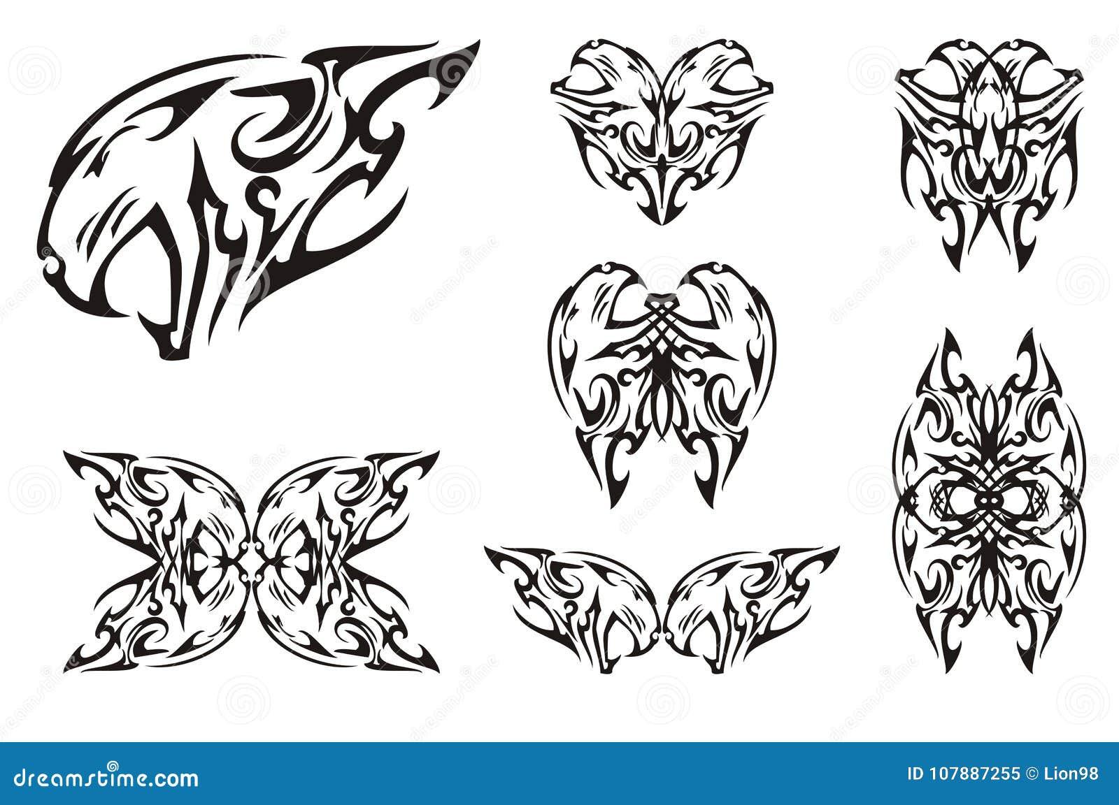 Símbolos Agresivos Tribales De La Cabeza Del Tigre Ilustración Del