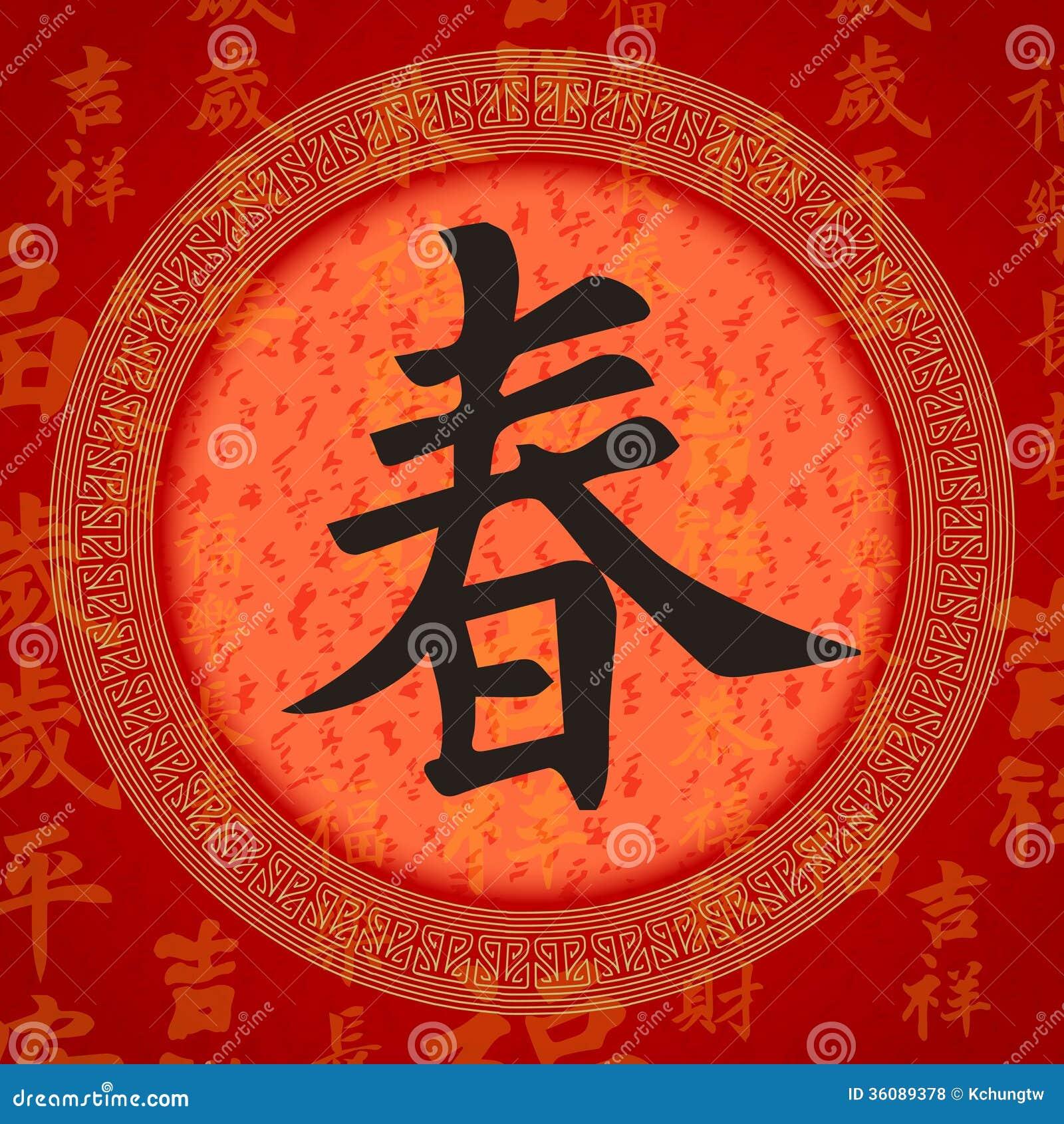 Símbolos Chinos De La Buena Suerte De La Caligrafía Ilustración Del Vector Ilustración De Extracto Propicio 36089378