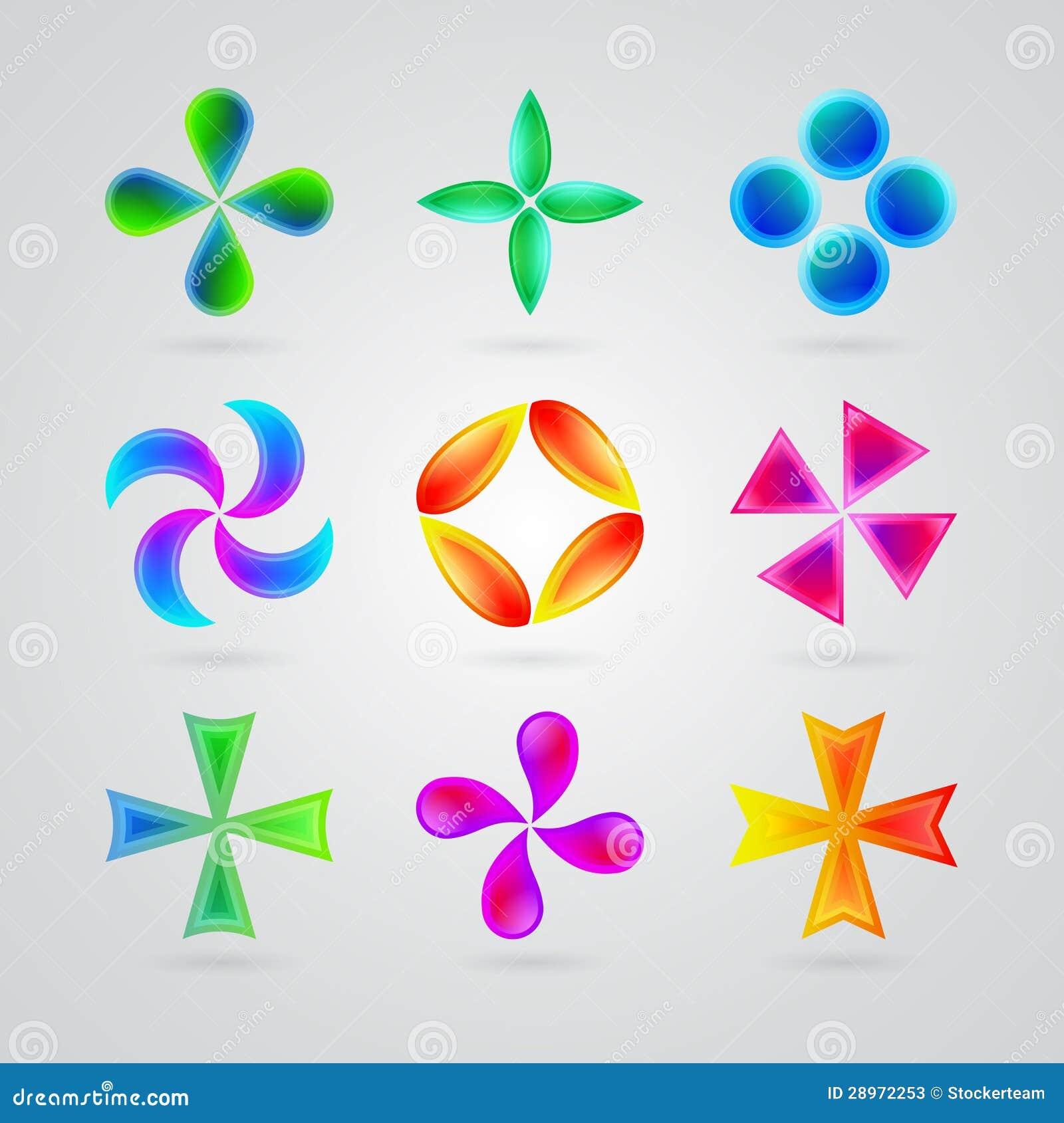 Símbolos Coloridos Modernos Para Su Diseño Stock De Ilustración