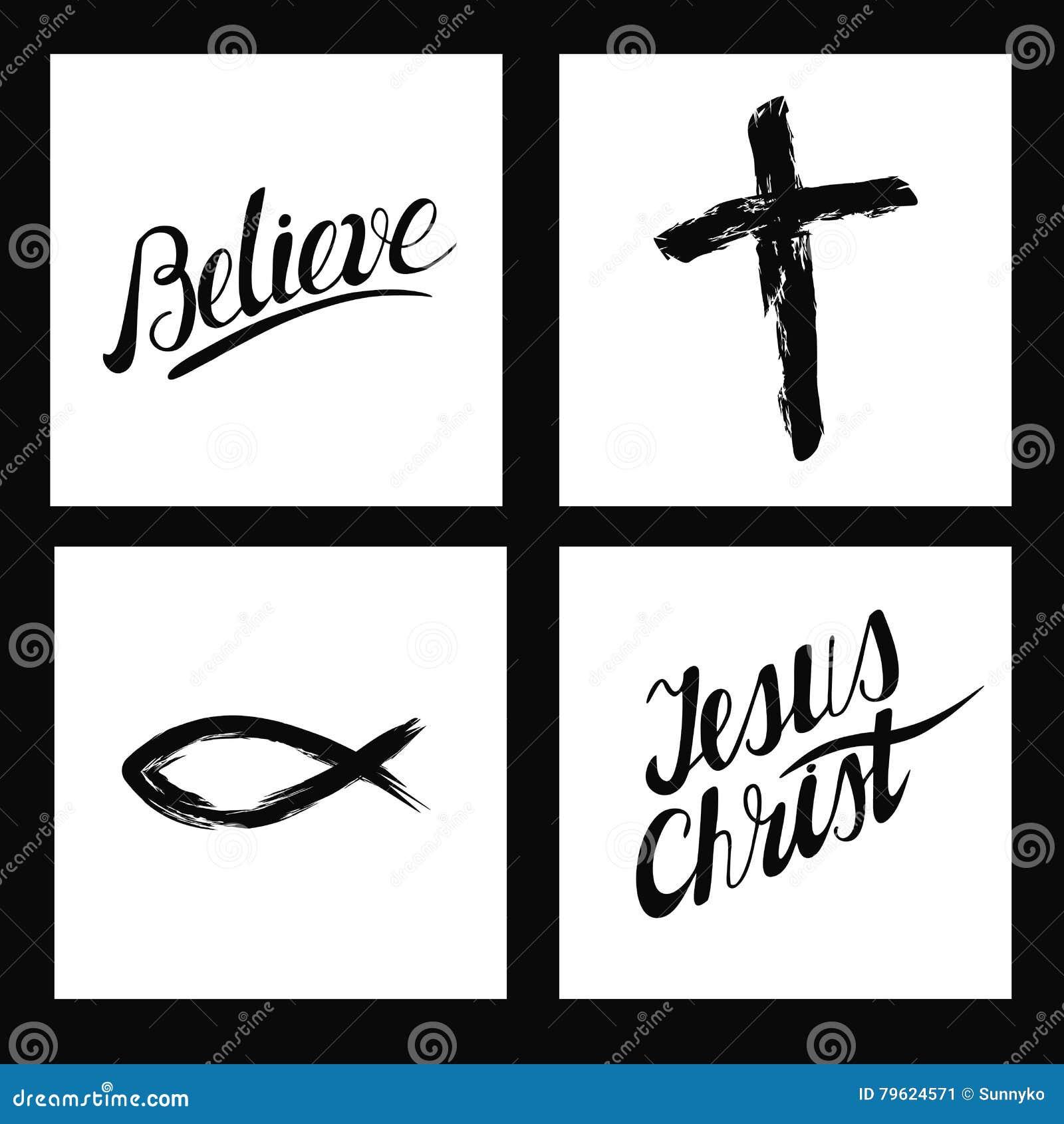 Símbolos cristãos Cruz feito à mão, acredite, Jesus Christ