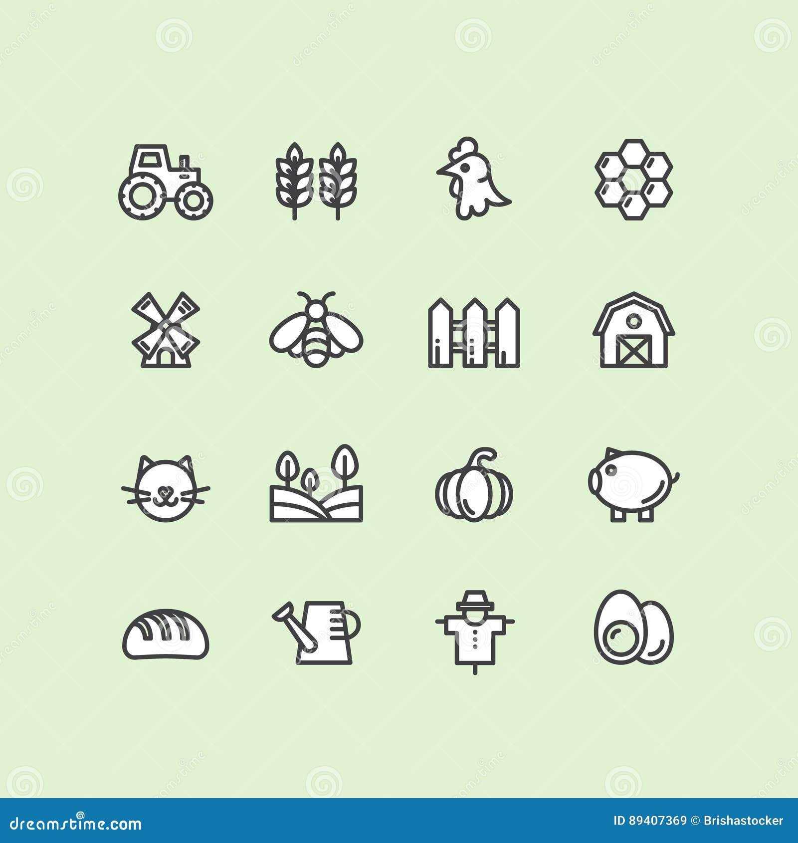 Símbolos da exploração agrícola, construção do país, ferramentas do agregado familiar, animais de estimação e animais domésticos
