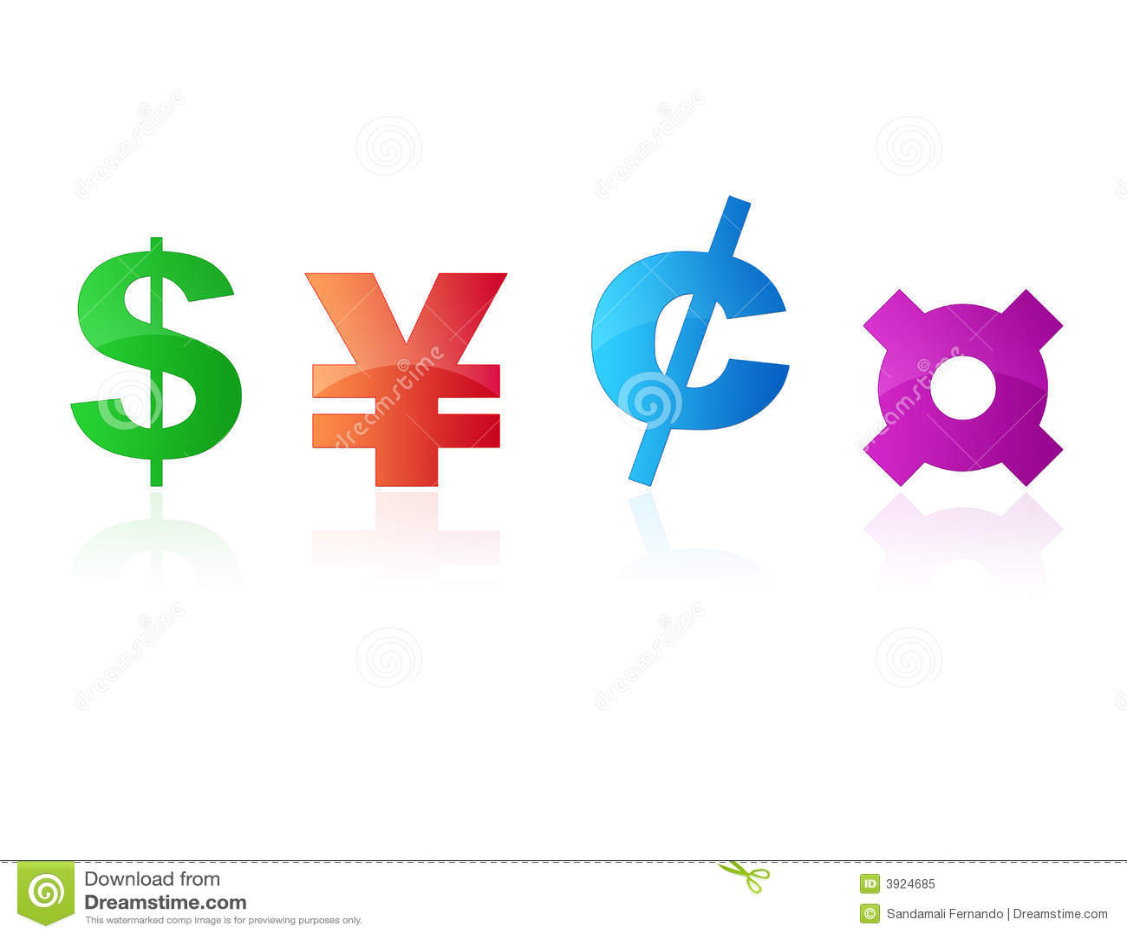 Símbolos de dinero en circulación