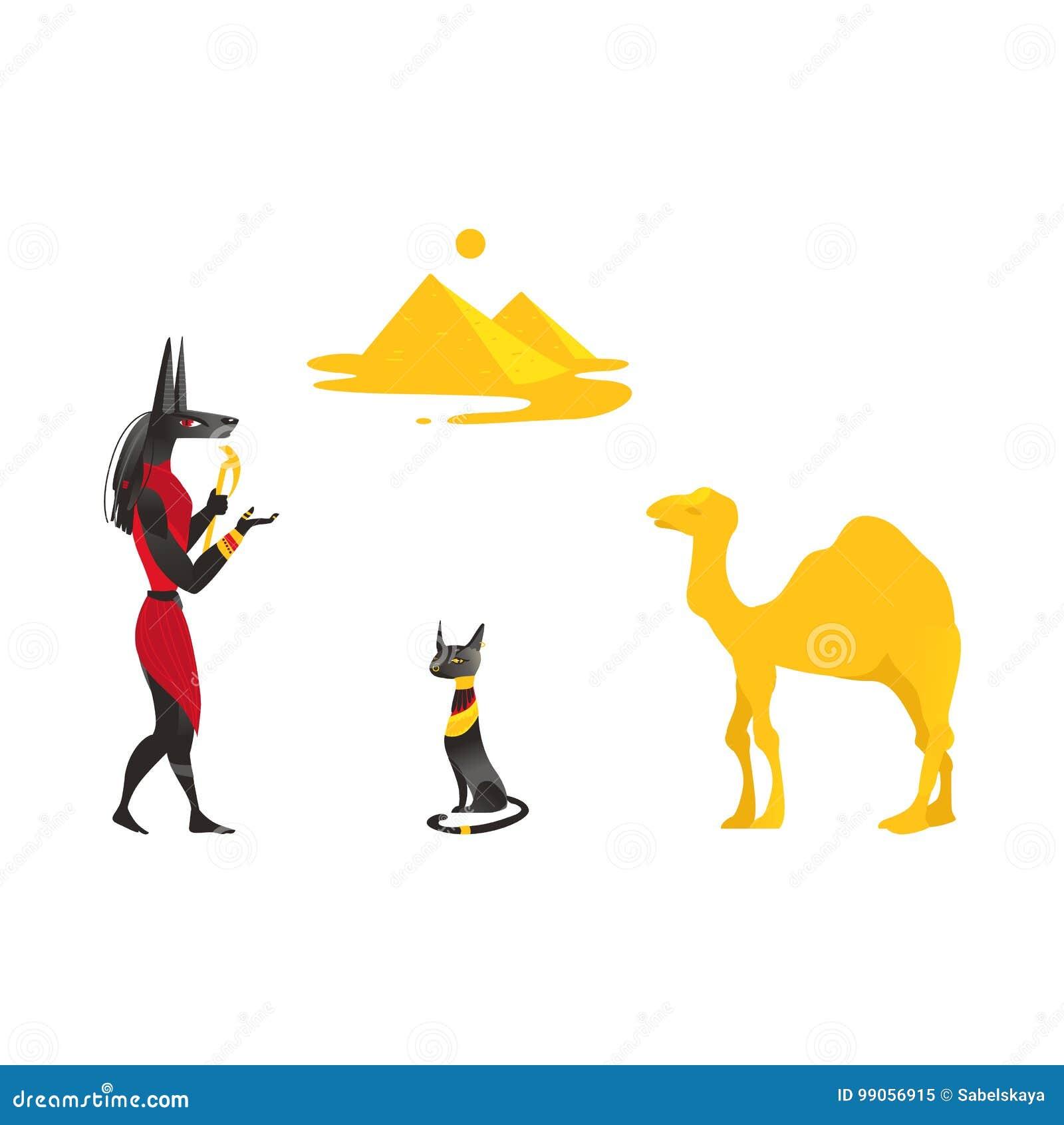 Simbolos De Egito Anubis Gato Preto Camelo Piramides