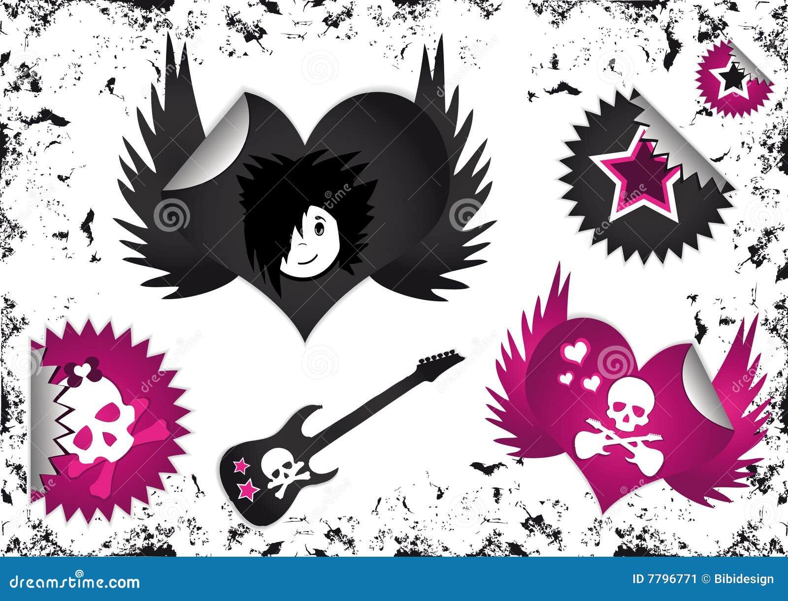 Símbolos de Emo, divisas de las escrituras de la etiqueta y etiquetas engomadas