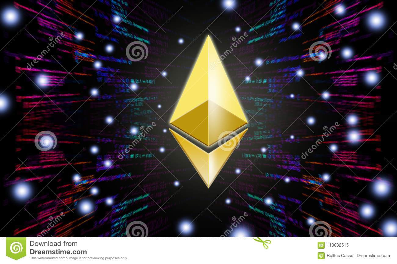 Símbolos de Ethereum en fondo abstracto digital