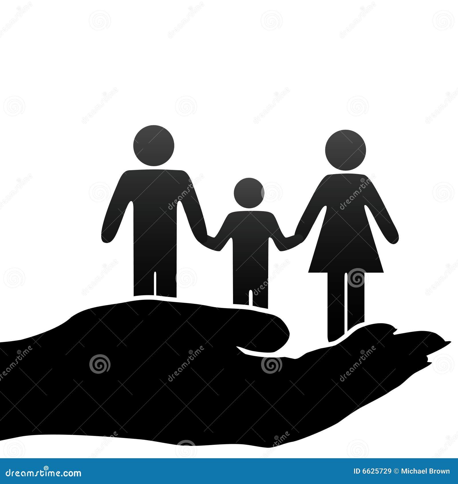 Símbolos de la familia del niño del padre de la madre en mano ahuecada