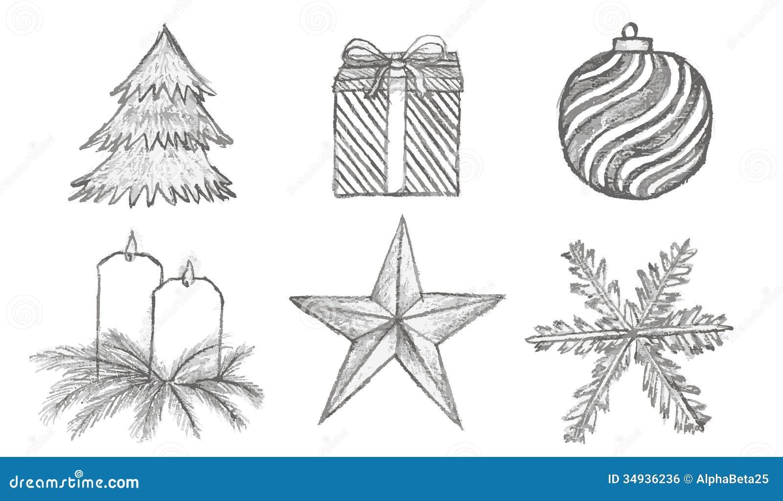 Símbolos de la Navidad del bosquejo del vector