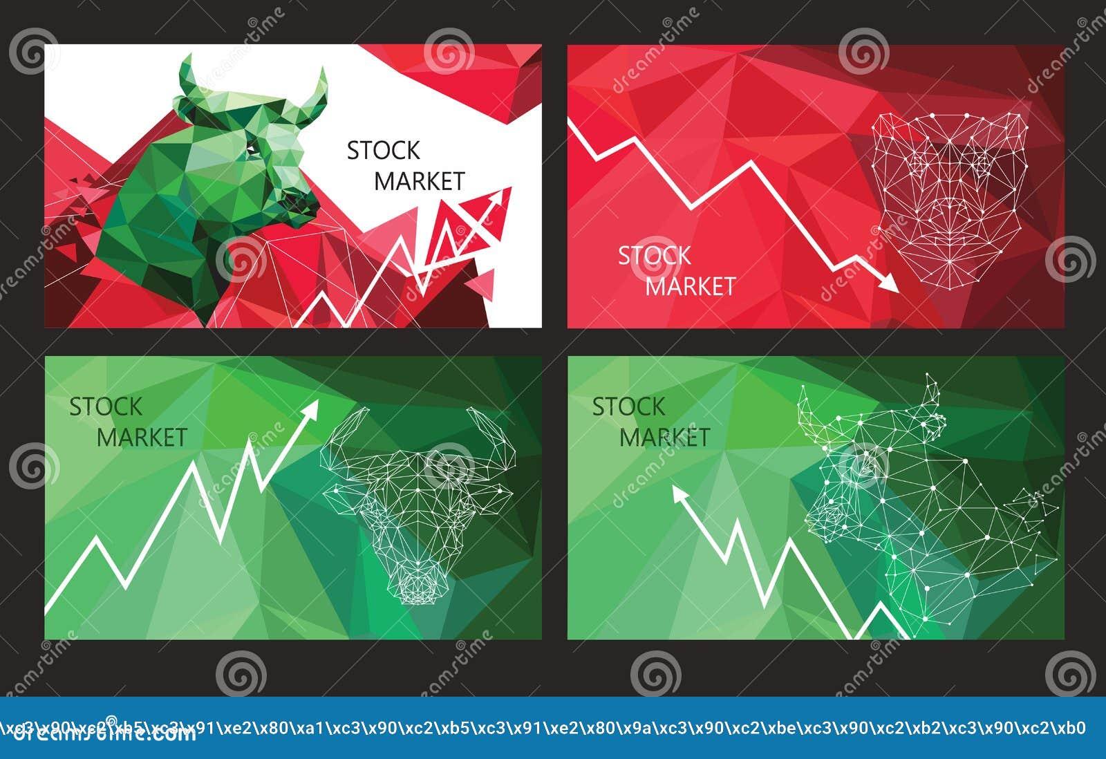 Símbolos de la tendencia del mercado de acción Sistema de banderas horizontales