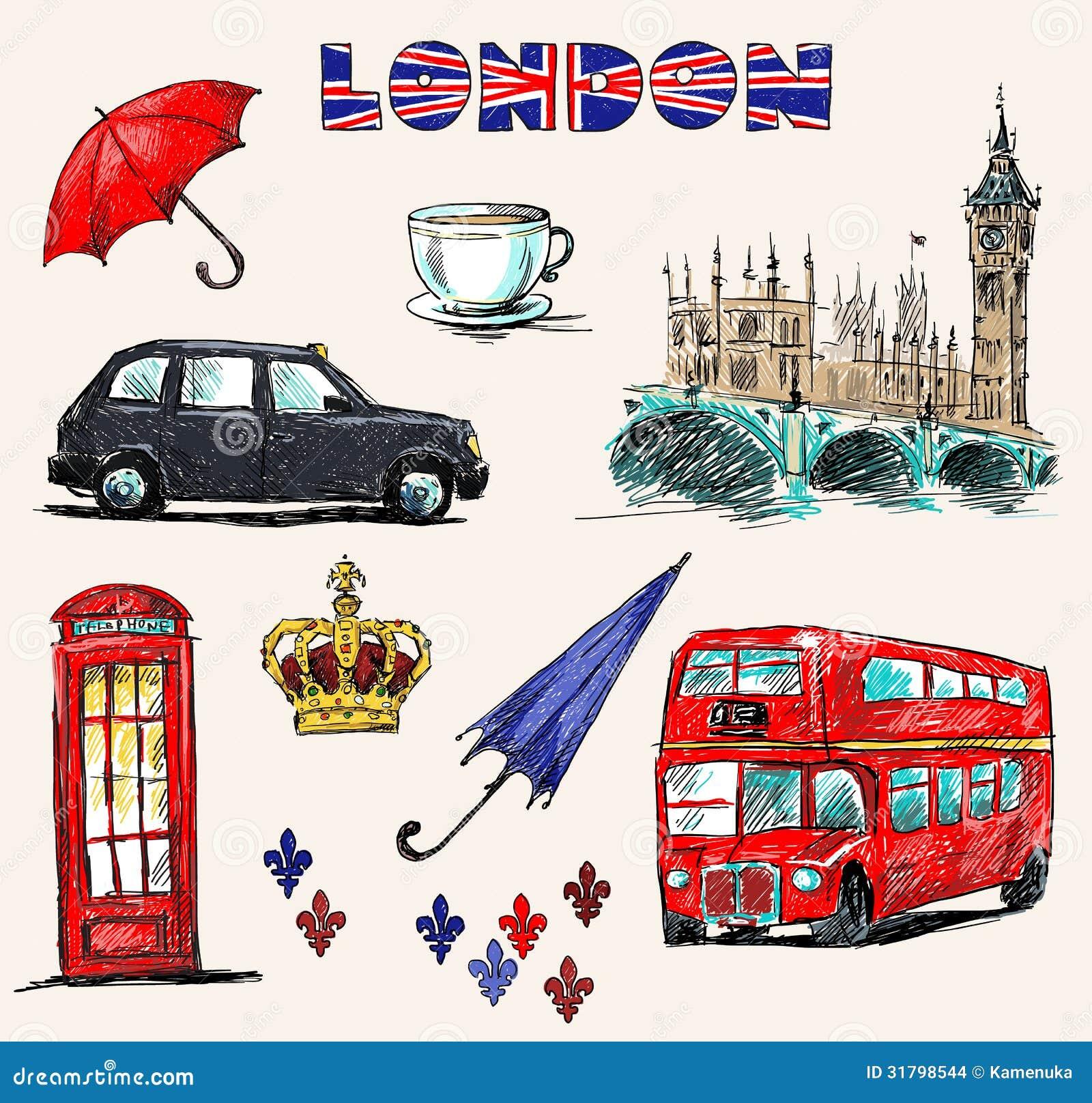 S mbolos de londres sistema de dibujos - Dibujo bandera inglesa ...