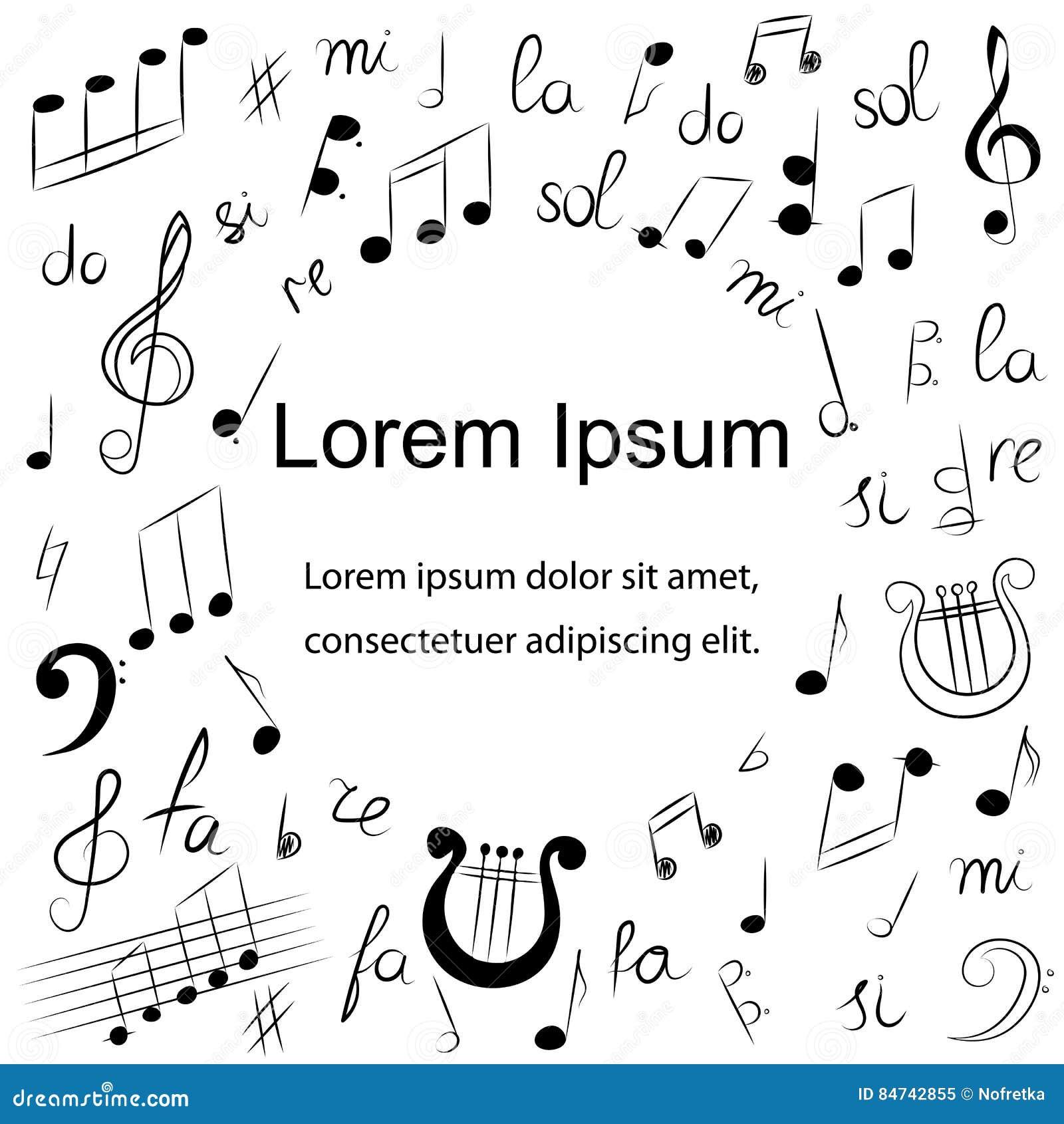 Simbolos De Musica Tirados Mao Desenhos Da Garatuja Da Clave De
