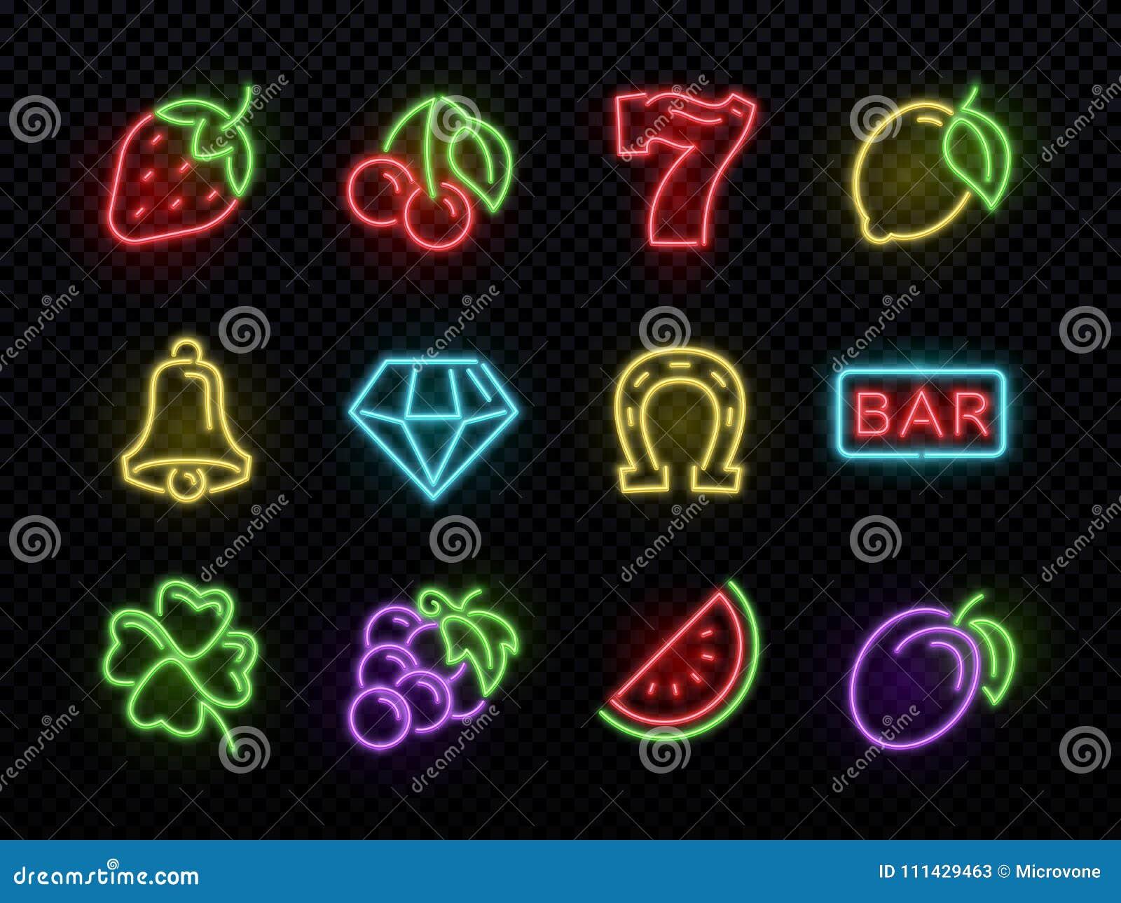 Símbolos de néon brilhantes do vetor do slot machine Ícones de jogo claros do casino