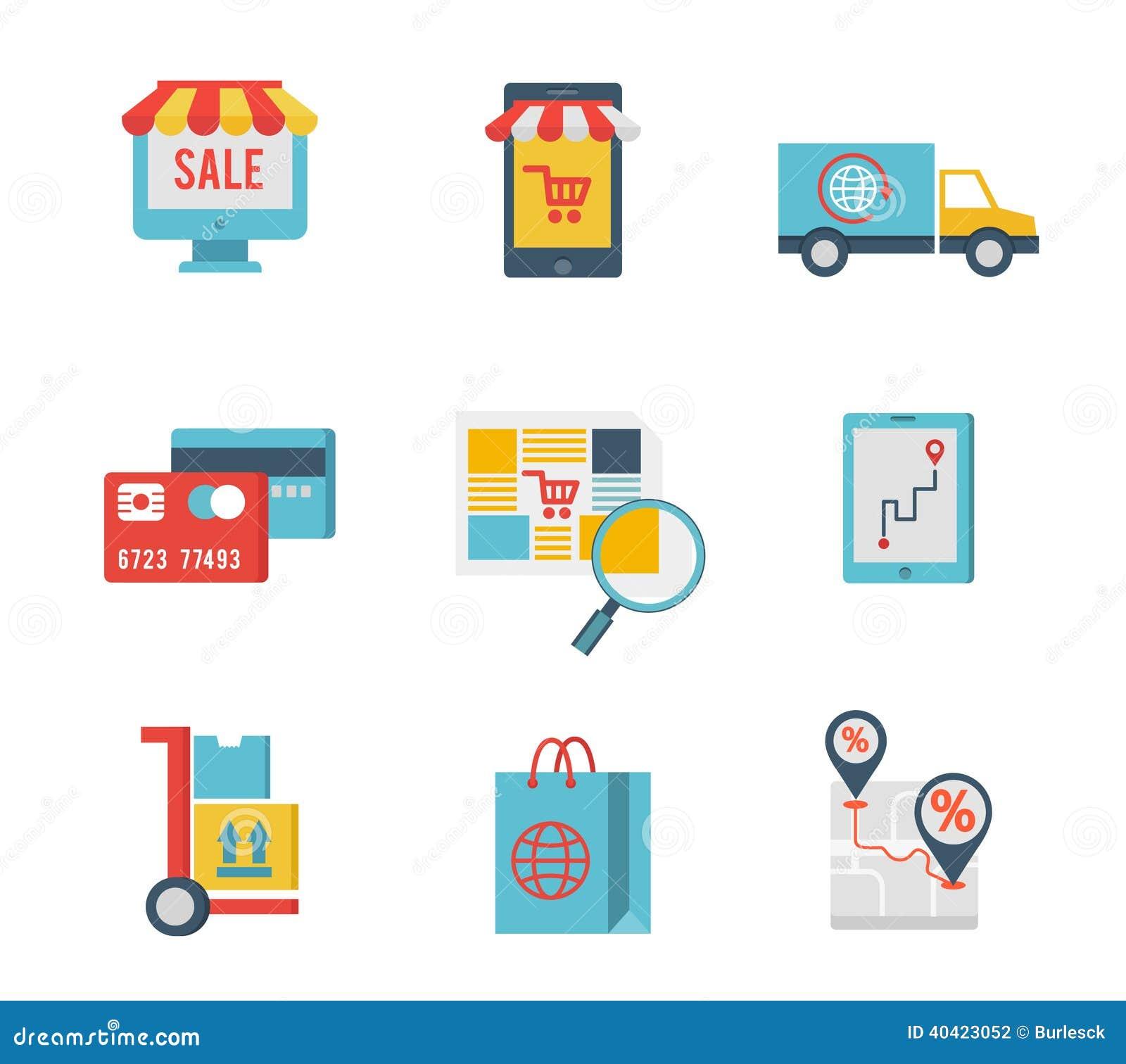 Símbolos del comercio electrónico y elementos de las compras de Internet