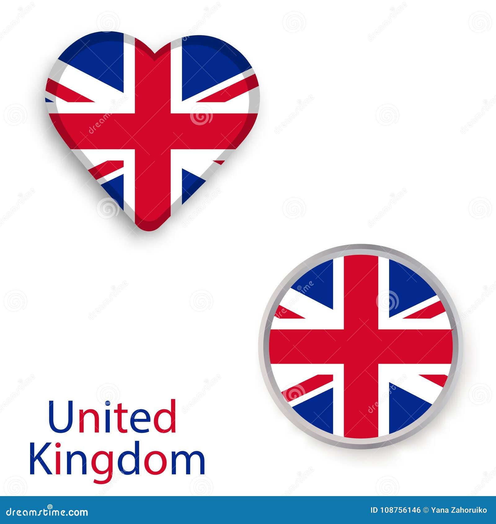 Símbolos Del Corazón Y Del Círculo Con La Bandera Del Reino Unido ...