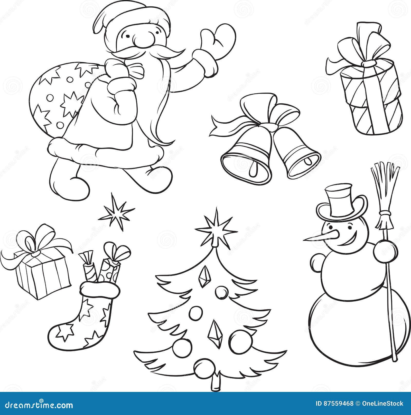 Símbolos Del Libro De Colorear Santa Claus Y De La Navidad