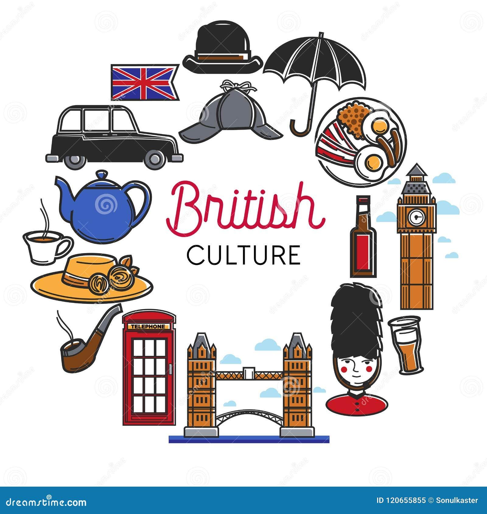 Símbolos del vector de la cultura de británicos o de Inglaterra
