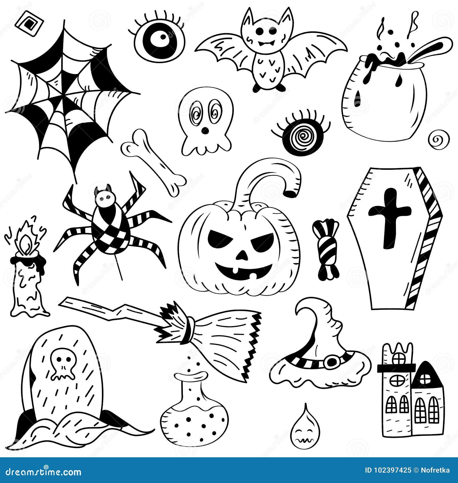 Símbolos Dibujados Mano De Halloween Dibujos Del Garabato Del Palo Calabaza G Ilustración Del Vector Ilustración De Palo Scribble 102397425