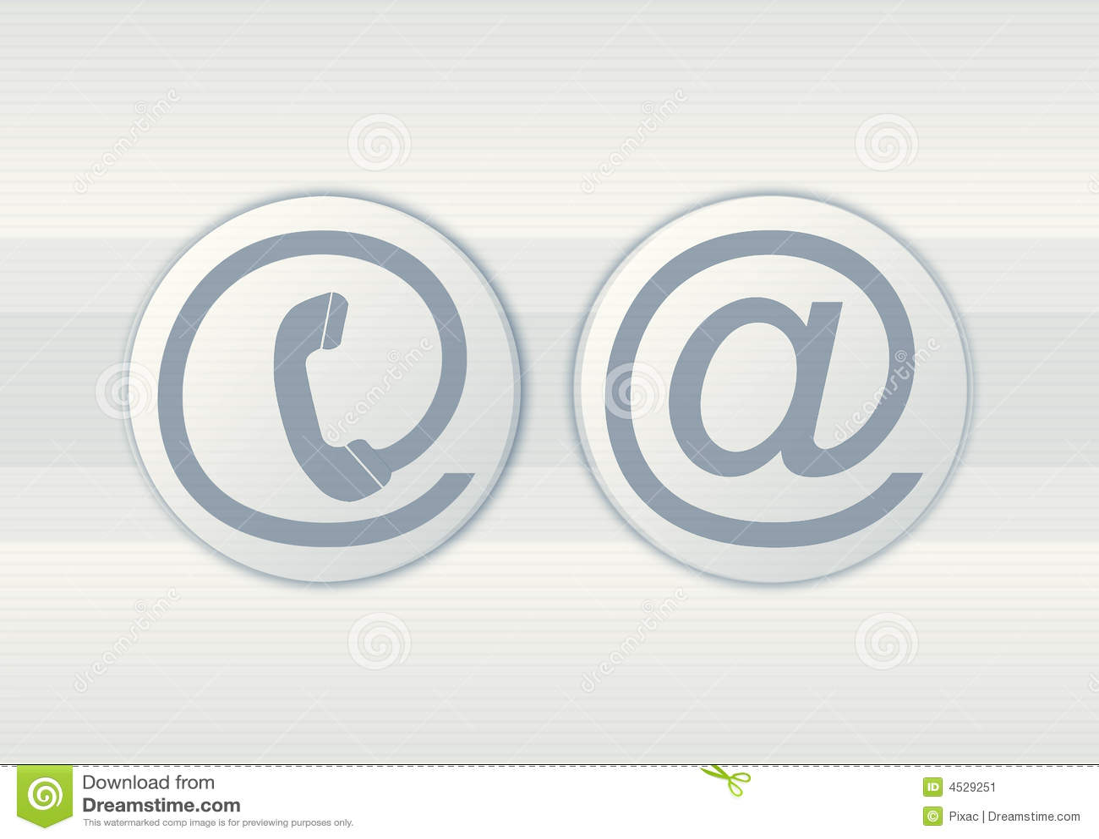 Símbolos do email e do telefone