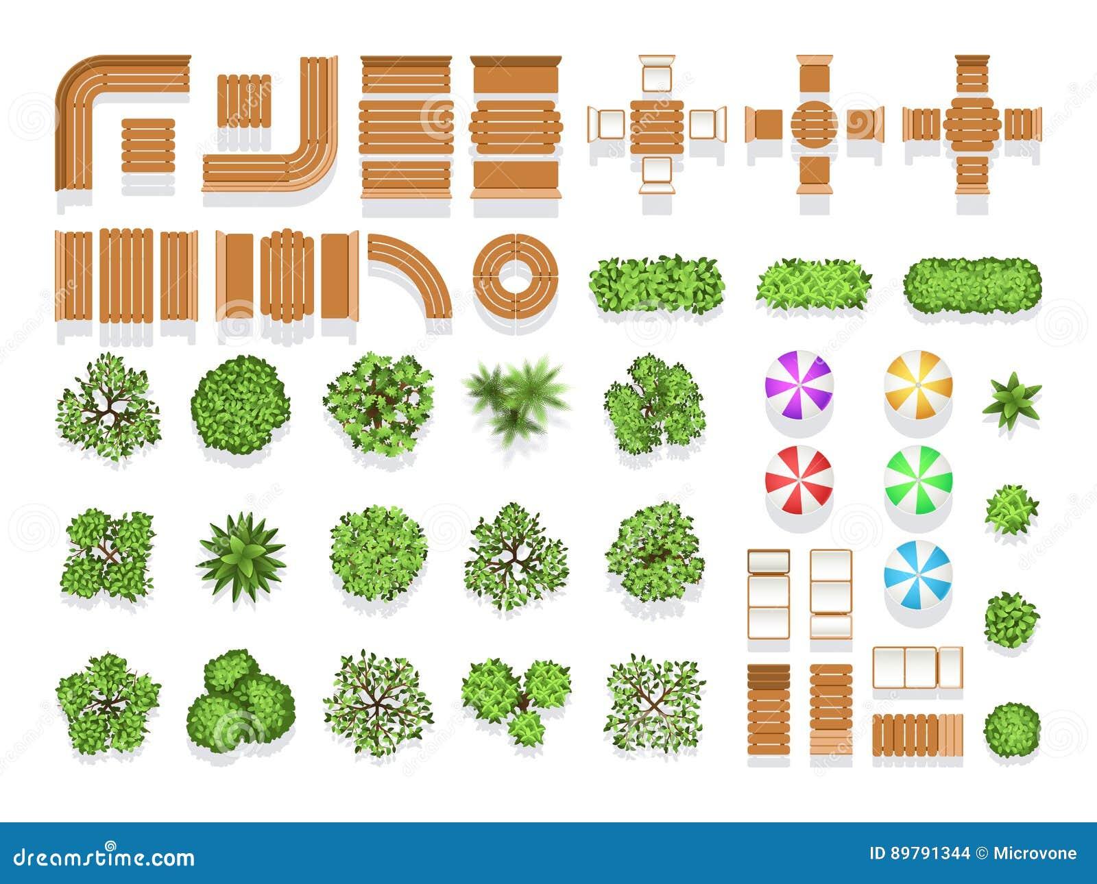 Símbolos do vetor do plano do parque da cidade da arquitetura ajardinando de vista superior, bancos de madeira e árvores