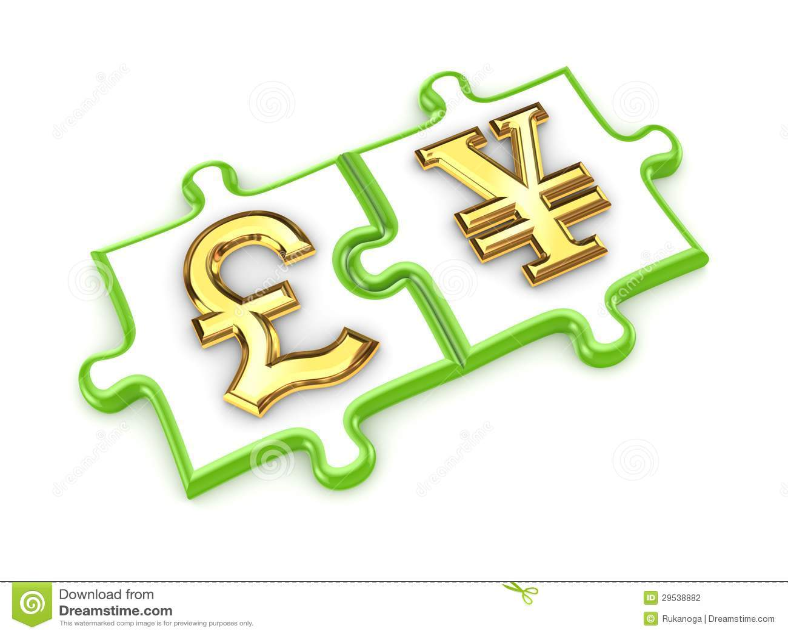 Símbolos e dos ienes de libra esterlina.