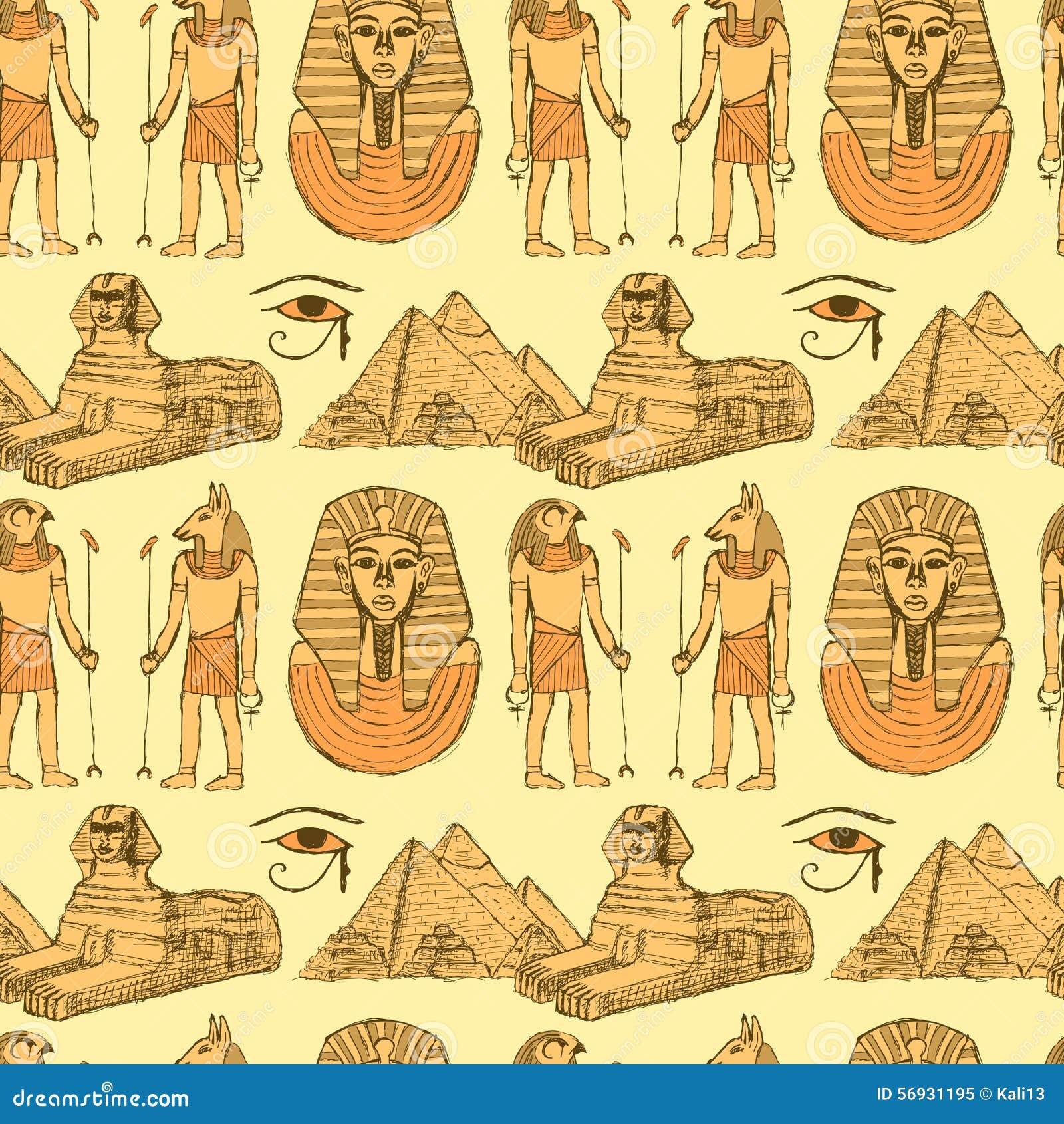 Símbolos egipcios del bosquejo en estilo del vintage