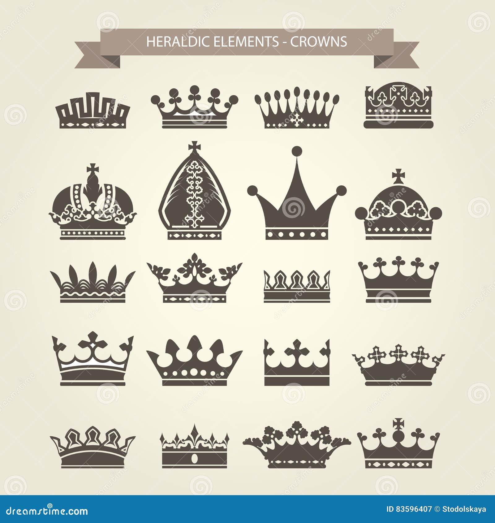 Smbolos herldicos da autoridade ilustrao do vetor ilustrao smbolos herldicos coroas reais ajustadas fotografia de stock royalty free ccuart Images