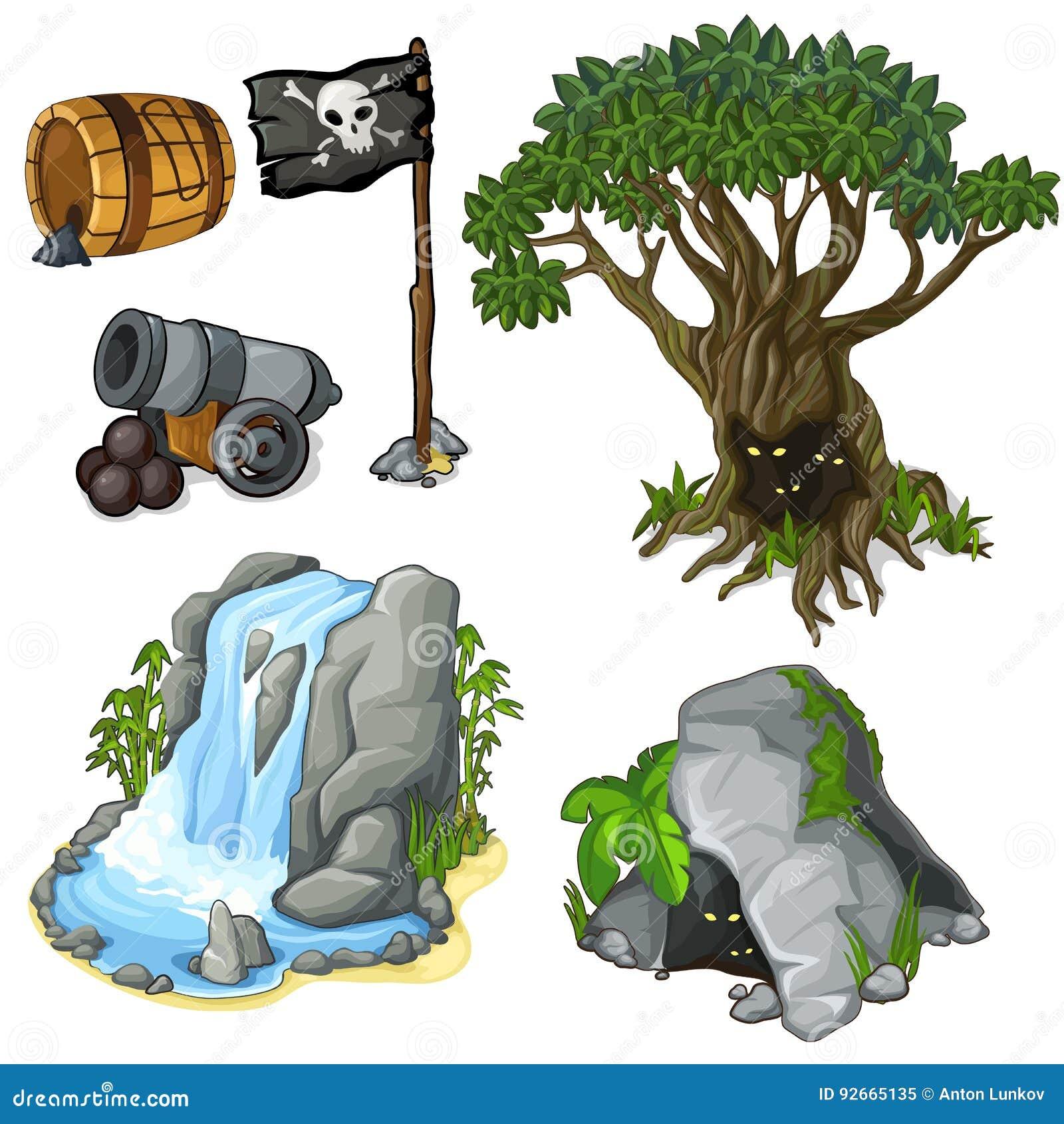 Símbolos místicos da árvore, da caverna, da cachoeira e do pirata