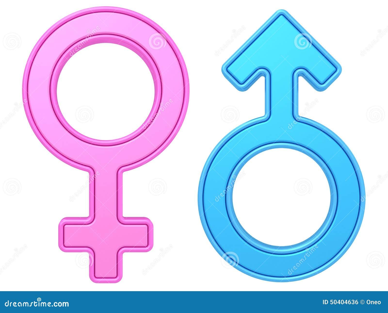 Símbolos masculinos e fêmeas do gênero de cores azuis e cor-de-rosa no branco