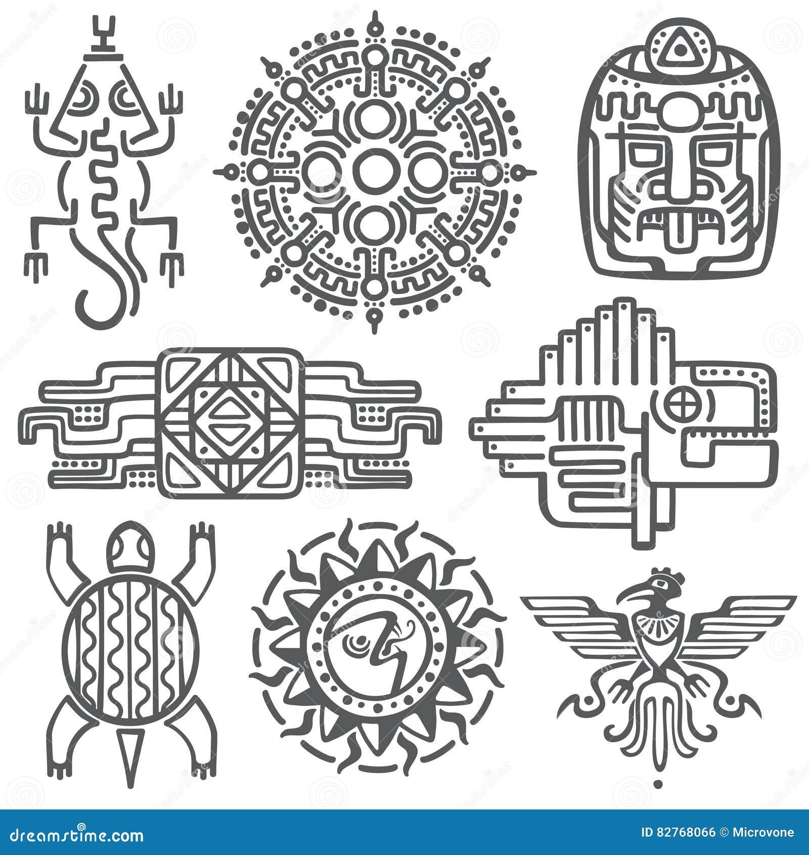 Símbolos Mexicanos Antiguos De La Mitología Del Vector Azteca