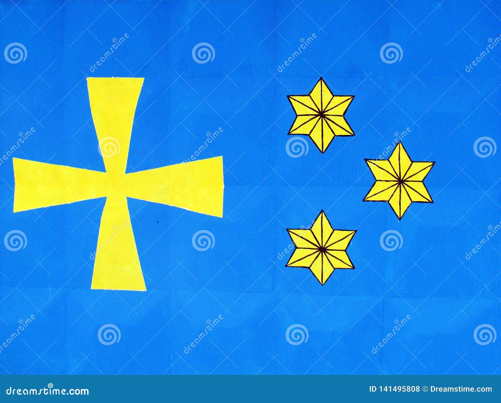 Símbolos nacionales y banderas de distritos de la región de Poltava