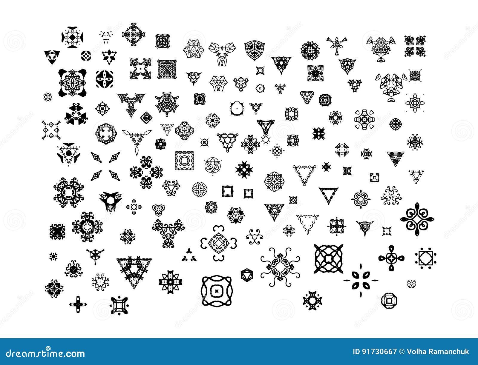 Símbolos Ornamentales Del Vintage Para La Decoración De La