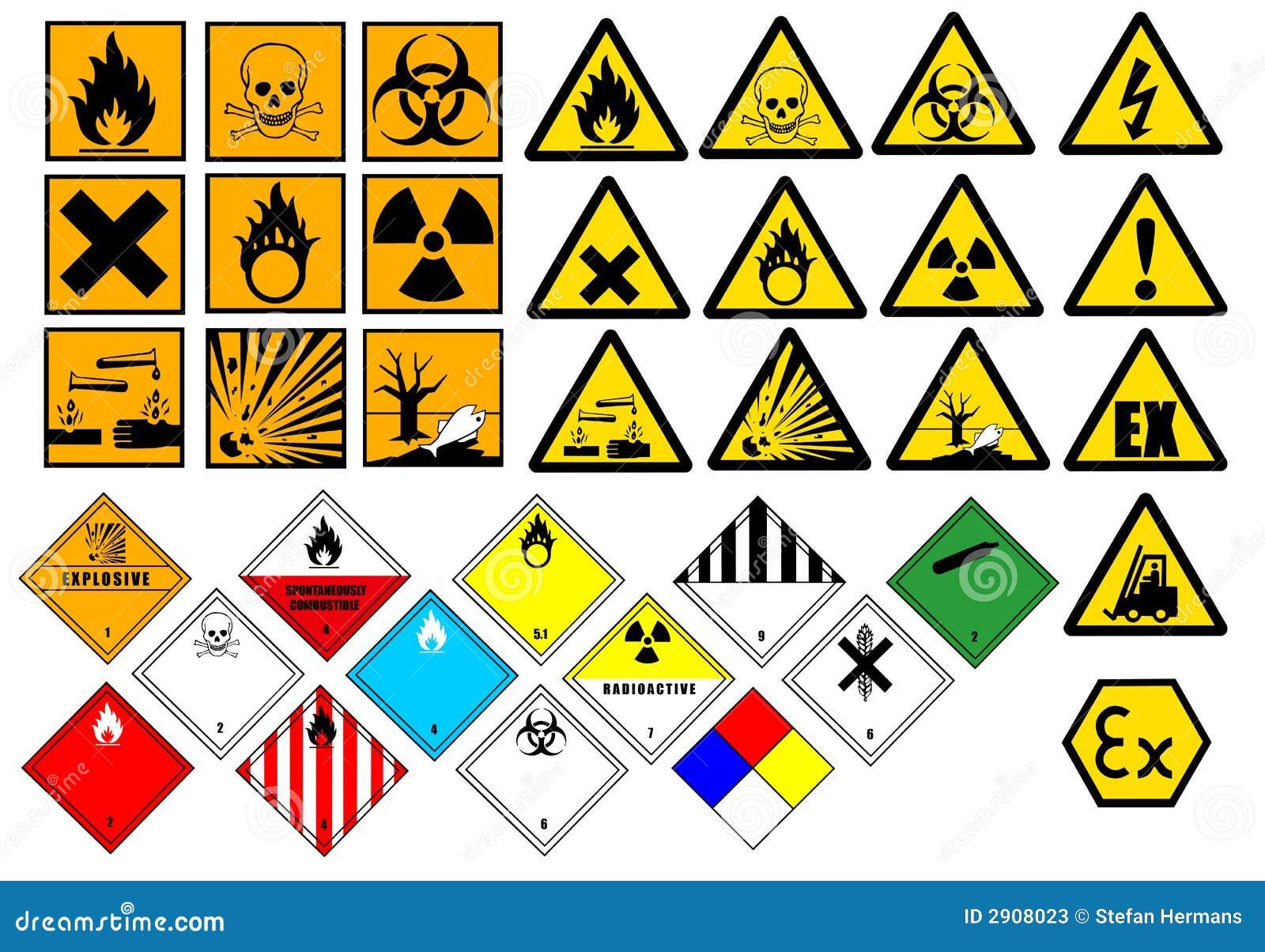 Vector de los símbolos químicos del peligro y de los símbolos del ...