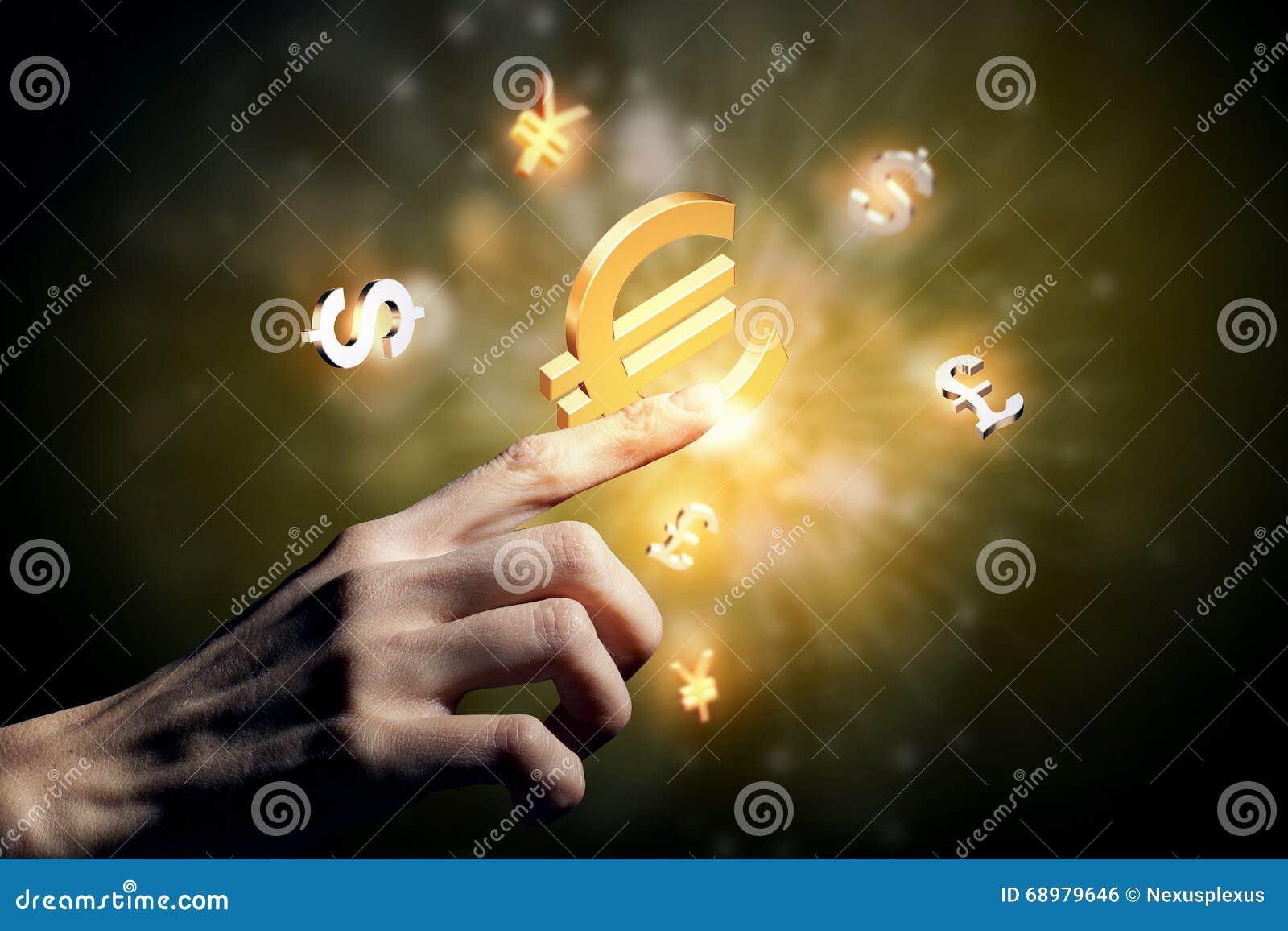 Símbolos que brillan intensamente de la moneda