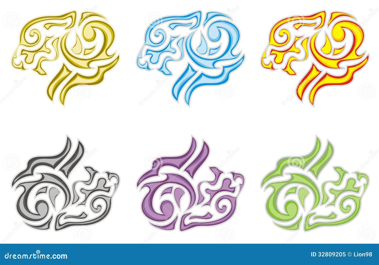 Símbolos Tribales De La Cabeza Del León Ilustración Del Vector