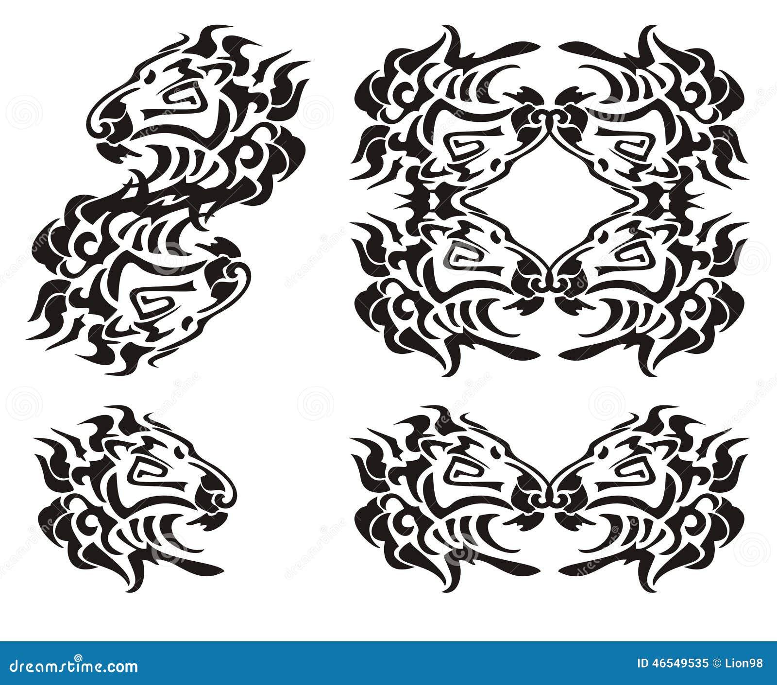 Símbolos Tribales De La Cabeza Del León Negro En El Blanco