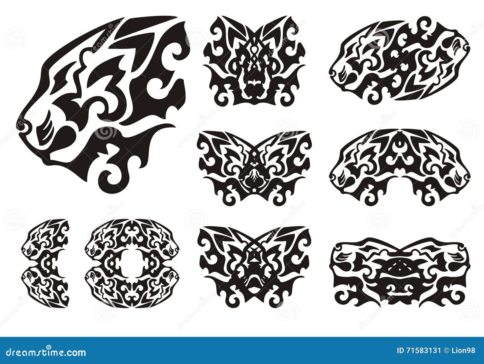 Símbolos Tribales De La Cabeza Del León Y Mariposas De Los Leones