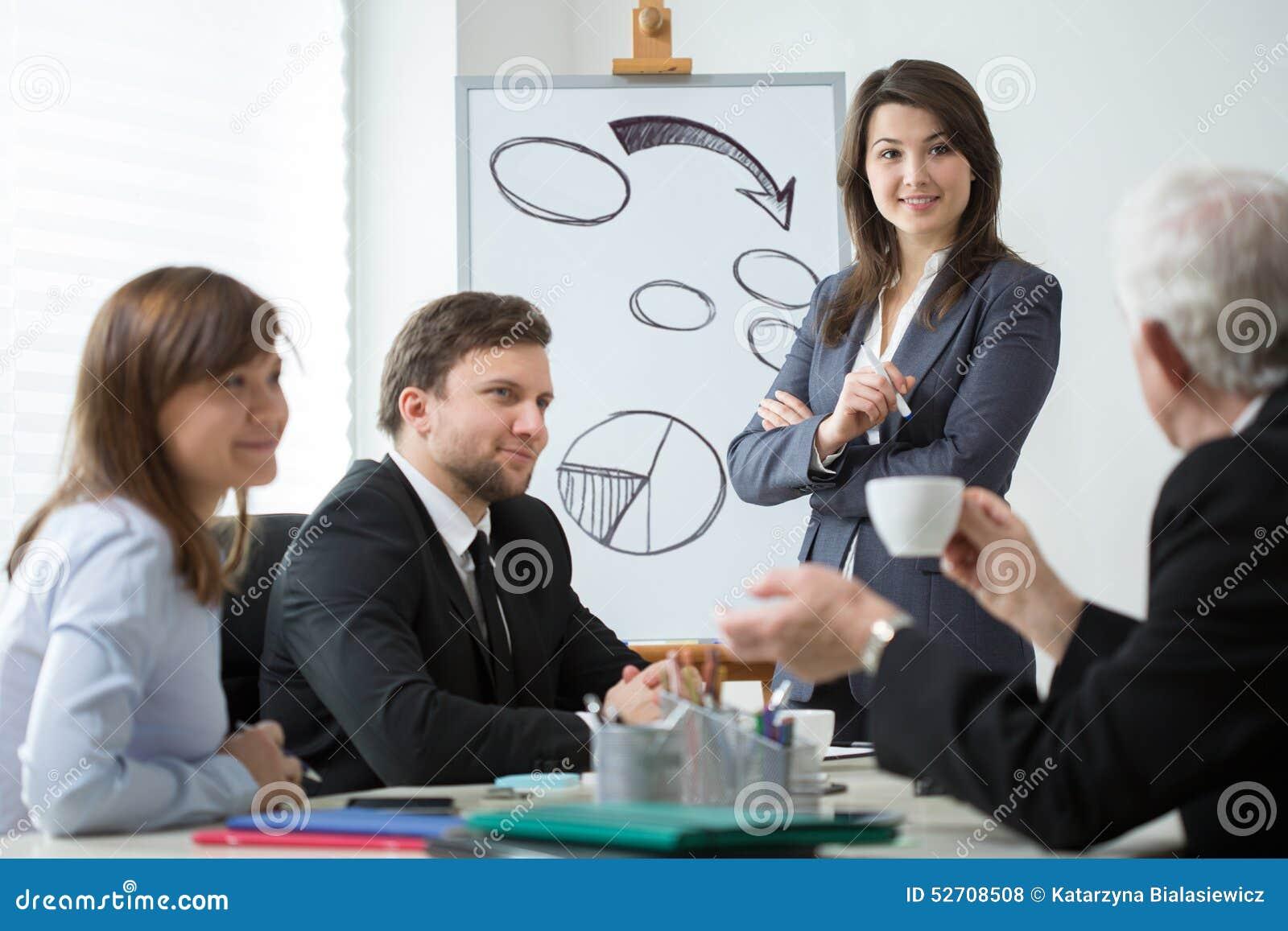 Sócios comerciais que analisam a situação da empresa