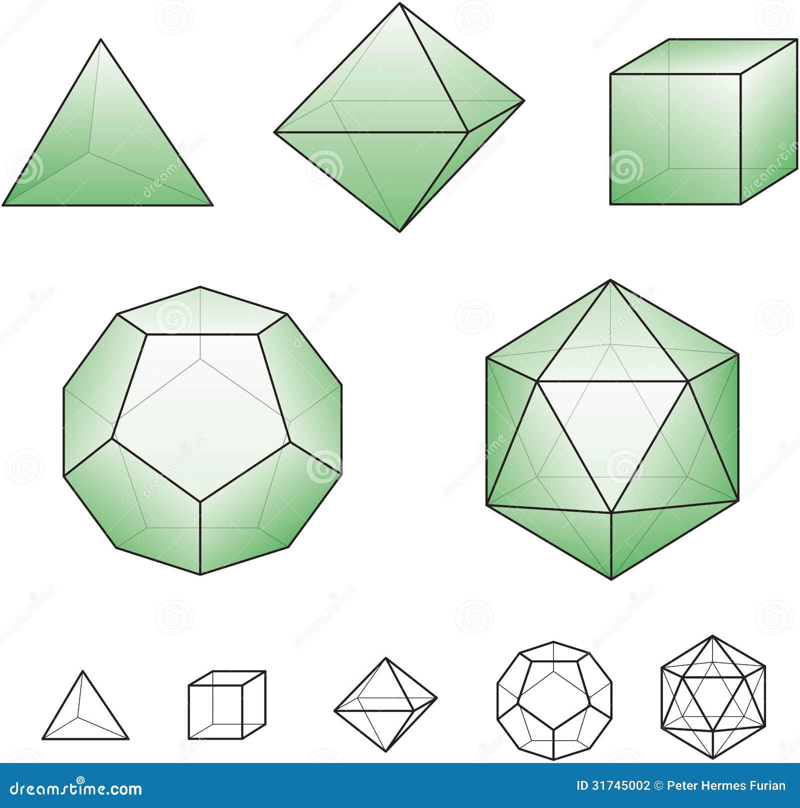 Sólidos Platónicos Template Modelo De Papel Ilustración del Vector ...