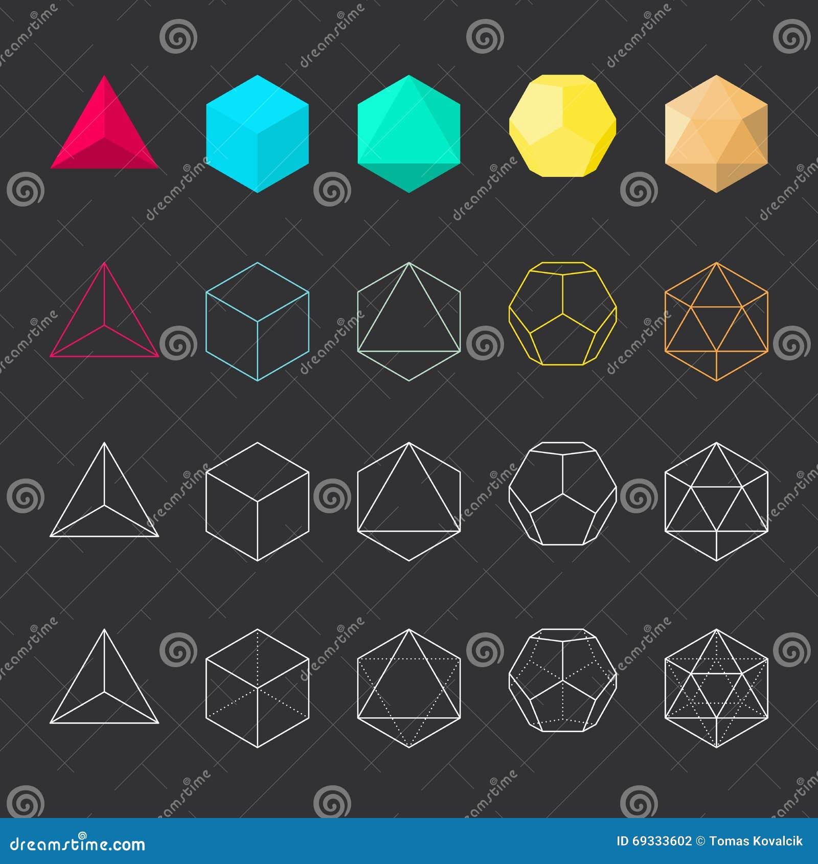 Sólidos Platónicos, Sistema Del Vector Ilustración del Vector ...