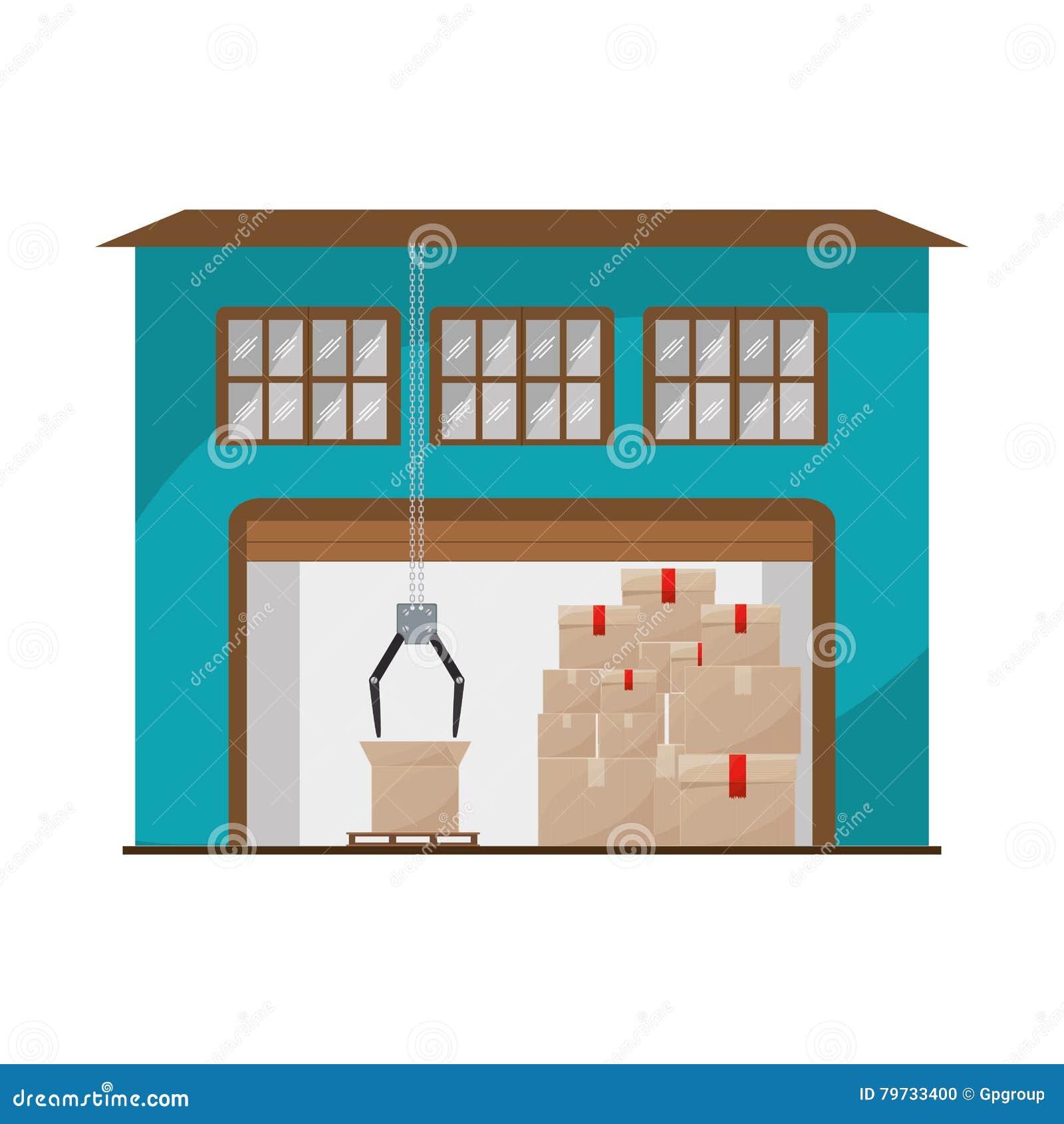 Sótano del almacenamiento con los paquetes y los mecánicos de la grúa